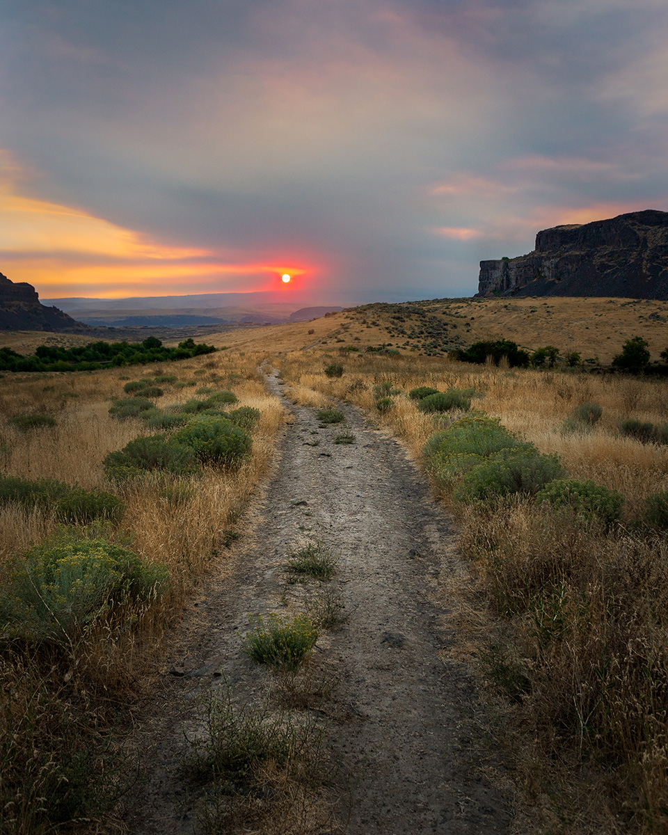 """Wildfire Sunset"" - Columbia Basin, WA"