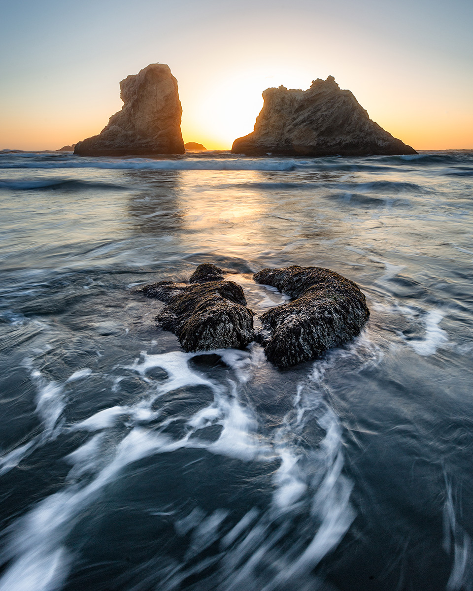 """Sunset through Rocky Seastacks"" - Bandon, OR"
