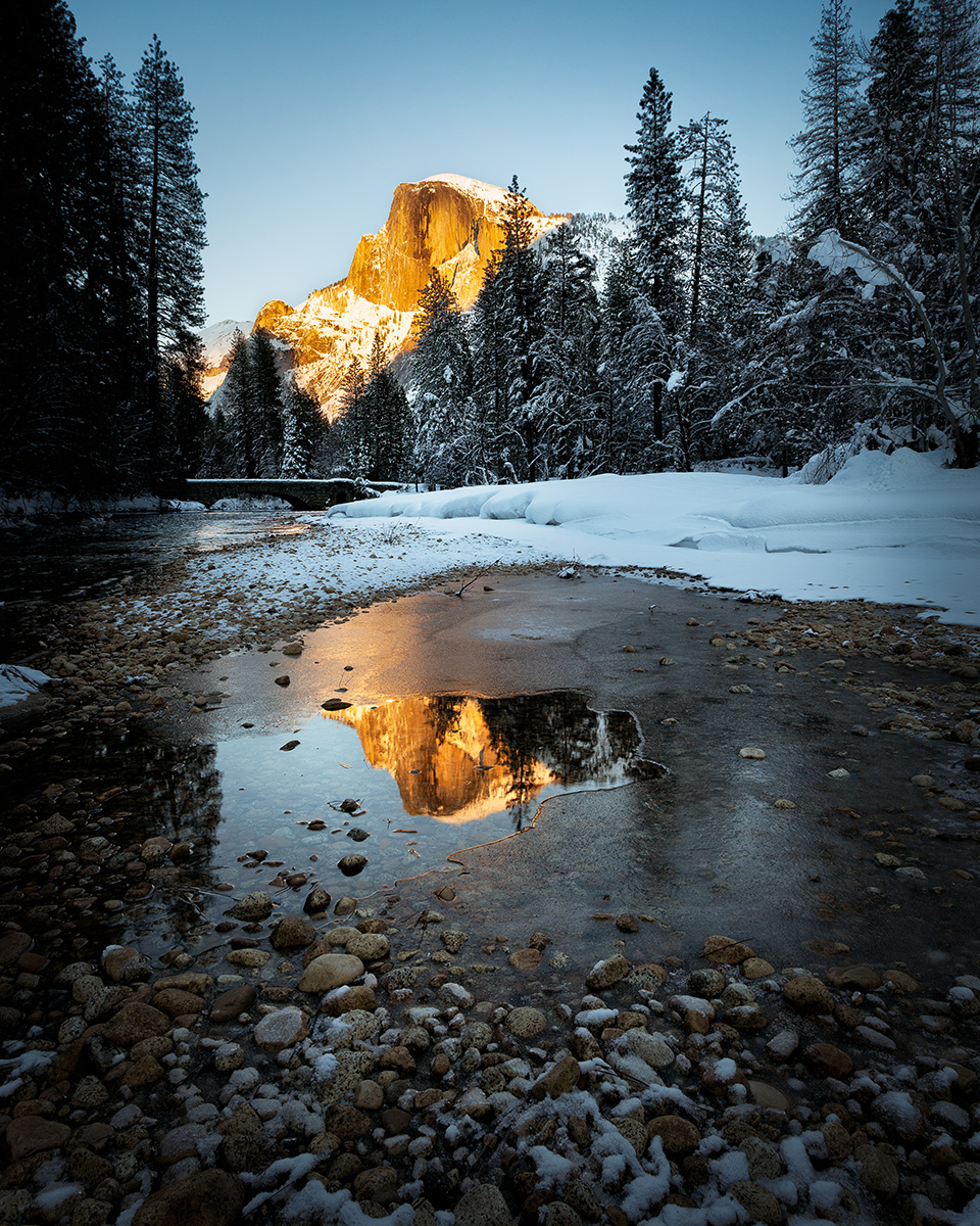 """Half Dome Reflecting in Winter"" - Yosemite National Park, CA"