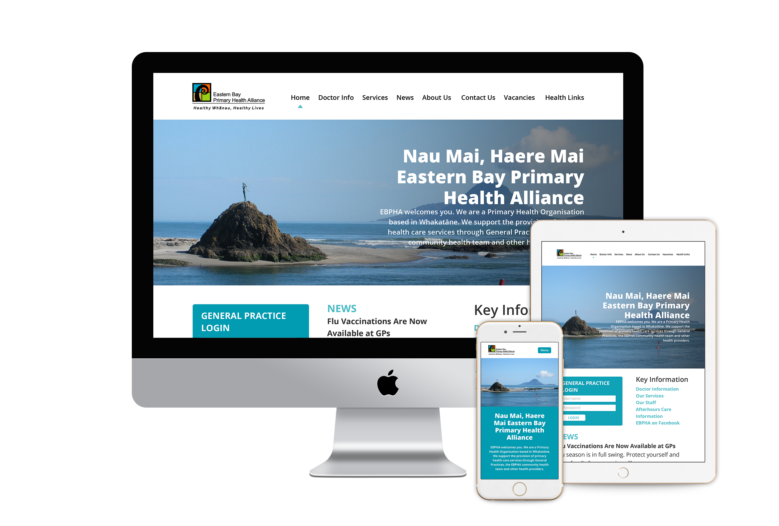 Eastern Bay PHA - Project Manager Eleanore McDonald needed a new website for the Eastern Bay Primary Health Alliance that was the trusted source for up-to-date healthcare information in the region, easy for users to navigate and a design upgrade.