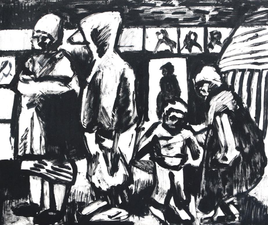 Deptford Market, mono print [detail] by Tom Scotcher