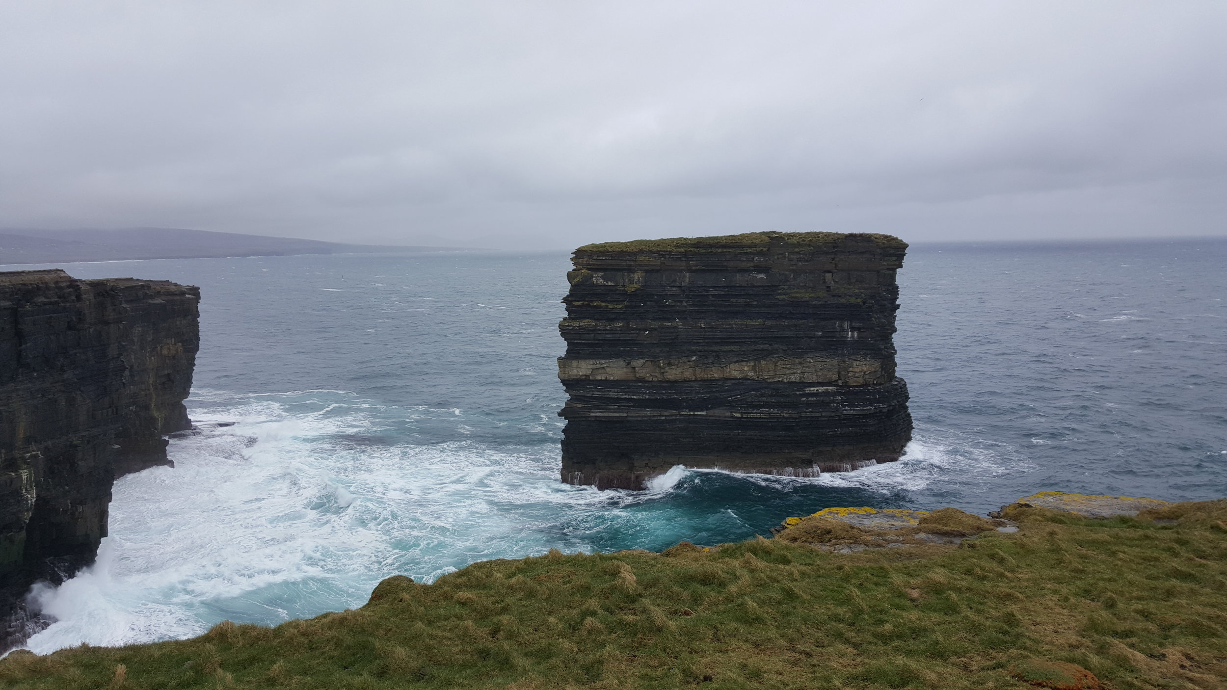 Nearby Downpatrick Head, only a couple of miles east of the Céide Fields, cliffs like this exist along this whole coast, making the sea largely inaccessible (photo courtesy of Bryan Abbott)