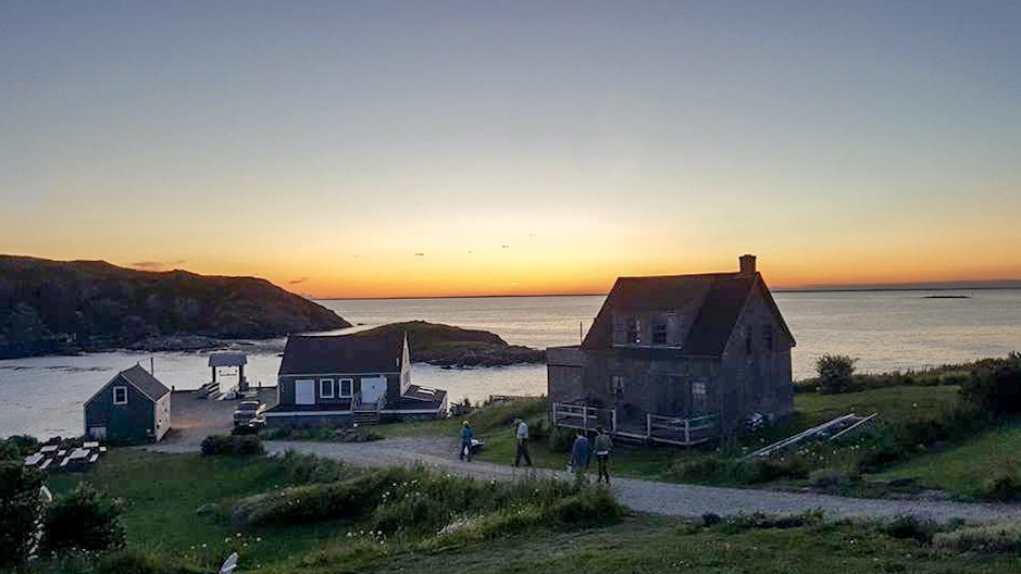 Monheagan Island ferry pier at sunset from the veranda at the Island Inn (courtesy of Bryan Abbott)