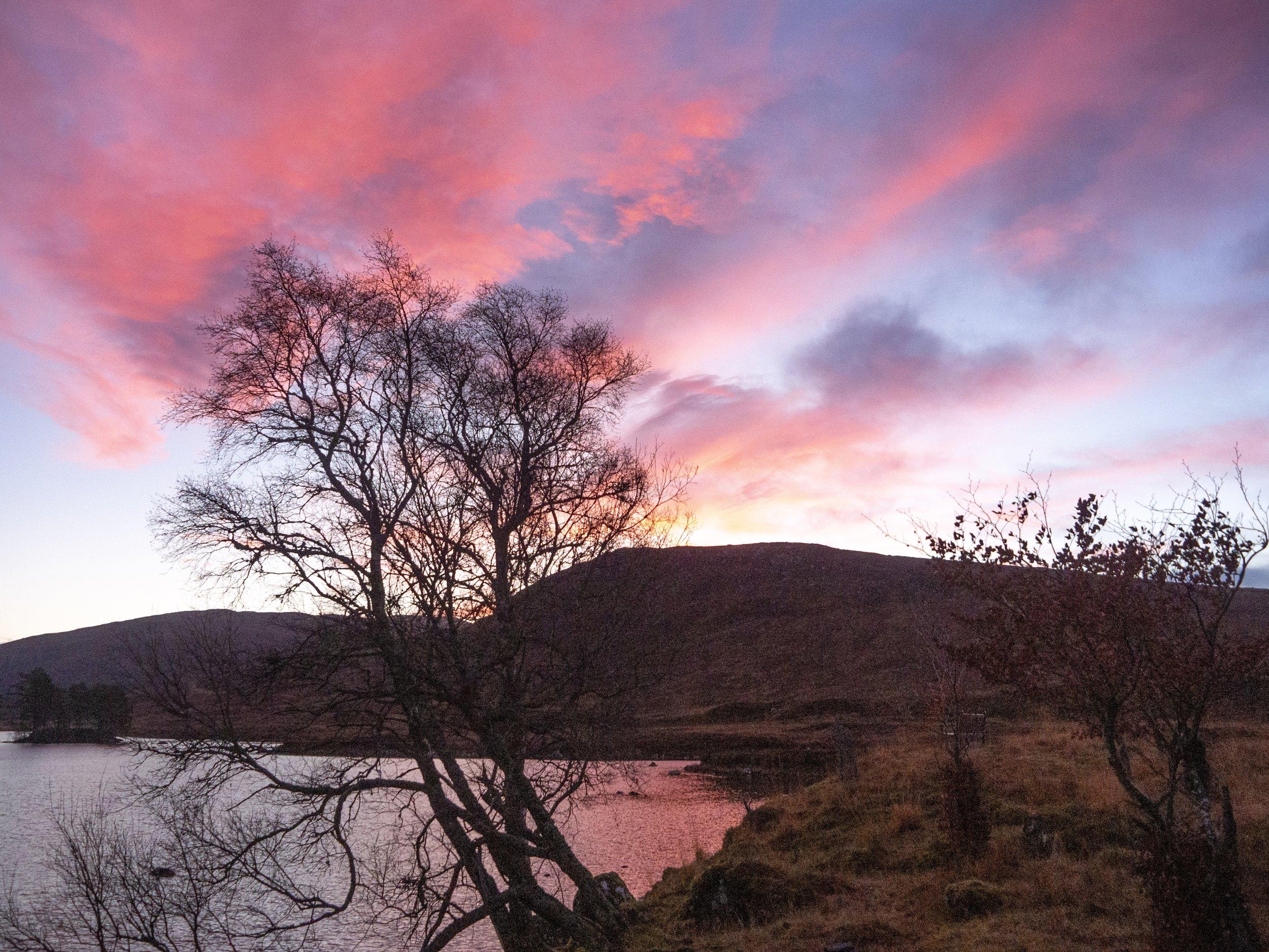 Sunrise outside the Loch Ossian Hostel