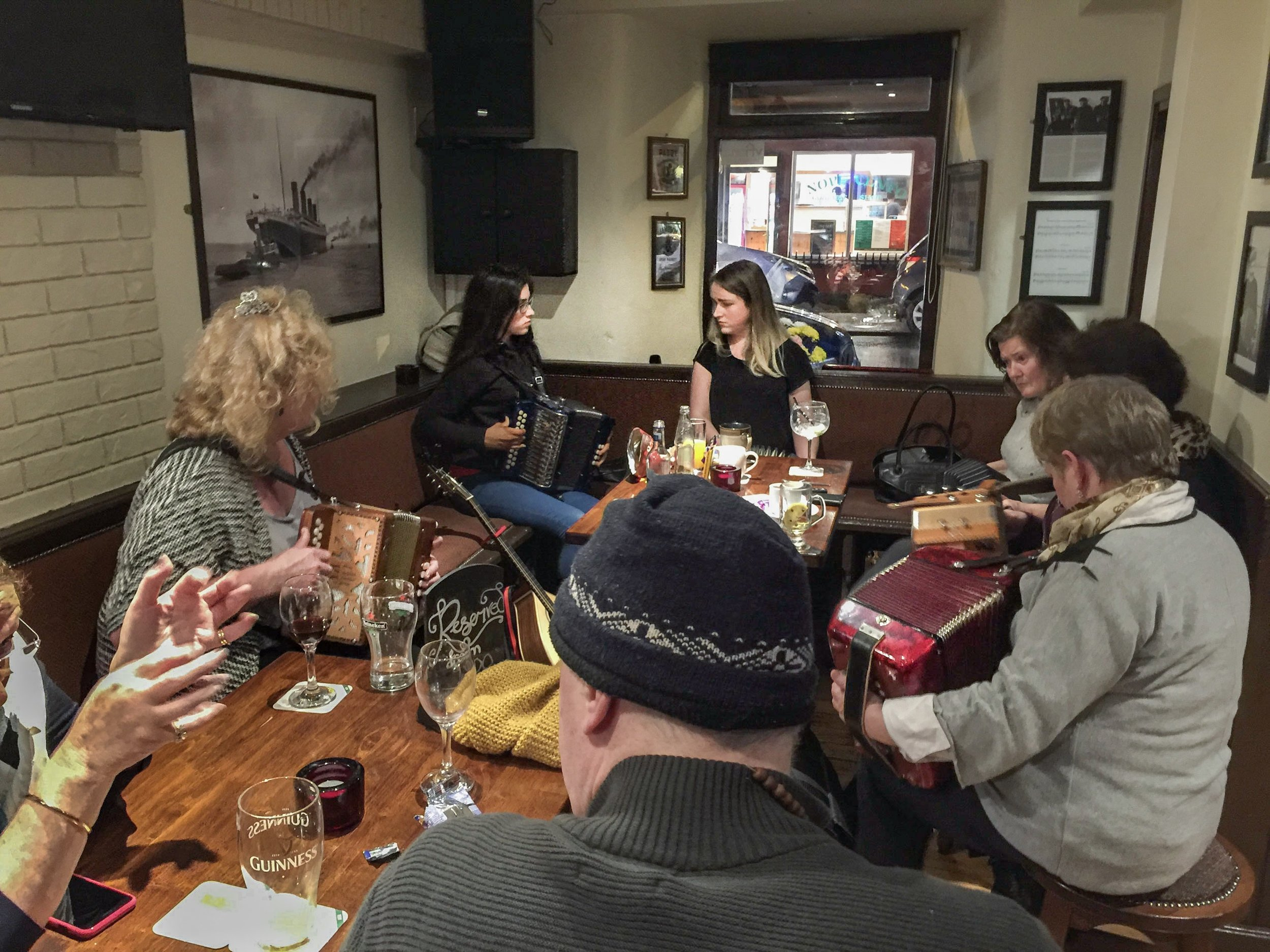 My siblings and I found an accordion group playing their music in an Irish pub, playing for themselves for the pure enjoyment of it. An evening like this won't be in any guidebooks