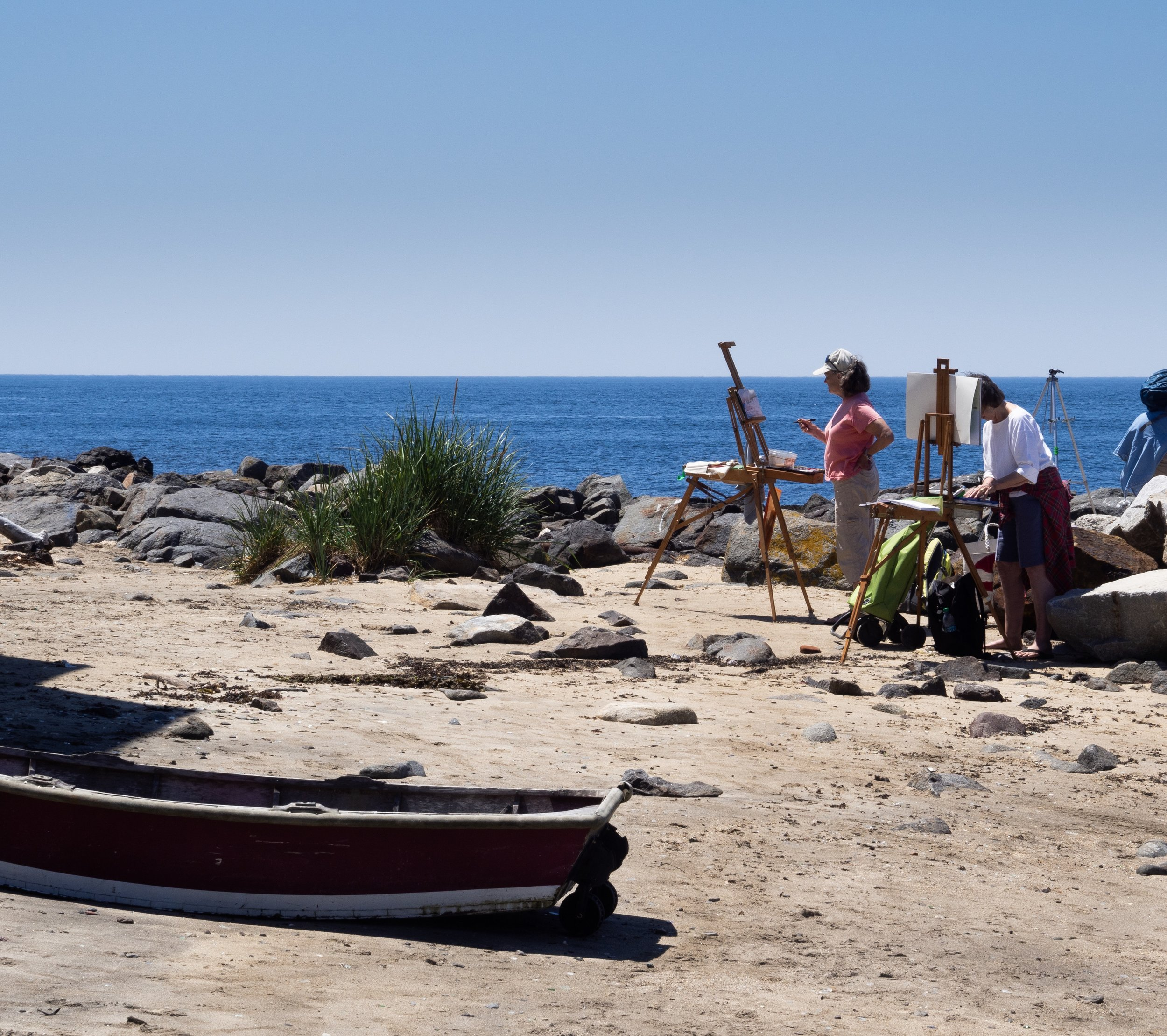 Having a leisurely lunch and watching painter work at Fish Beach on Monhegan Island. Years ago we took a day trip there, then recently an overnight trip. And this past summer two nights. Maybe even longer in the future