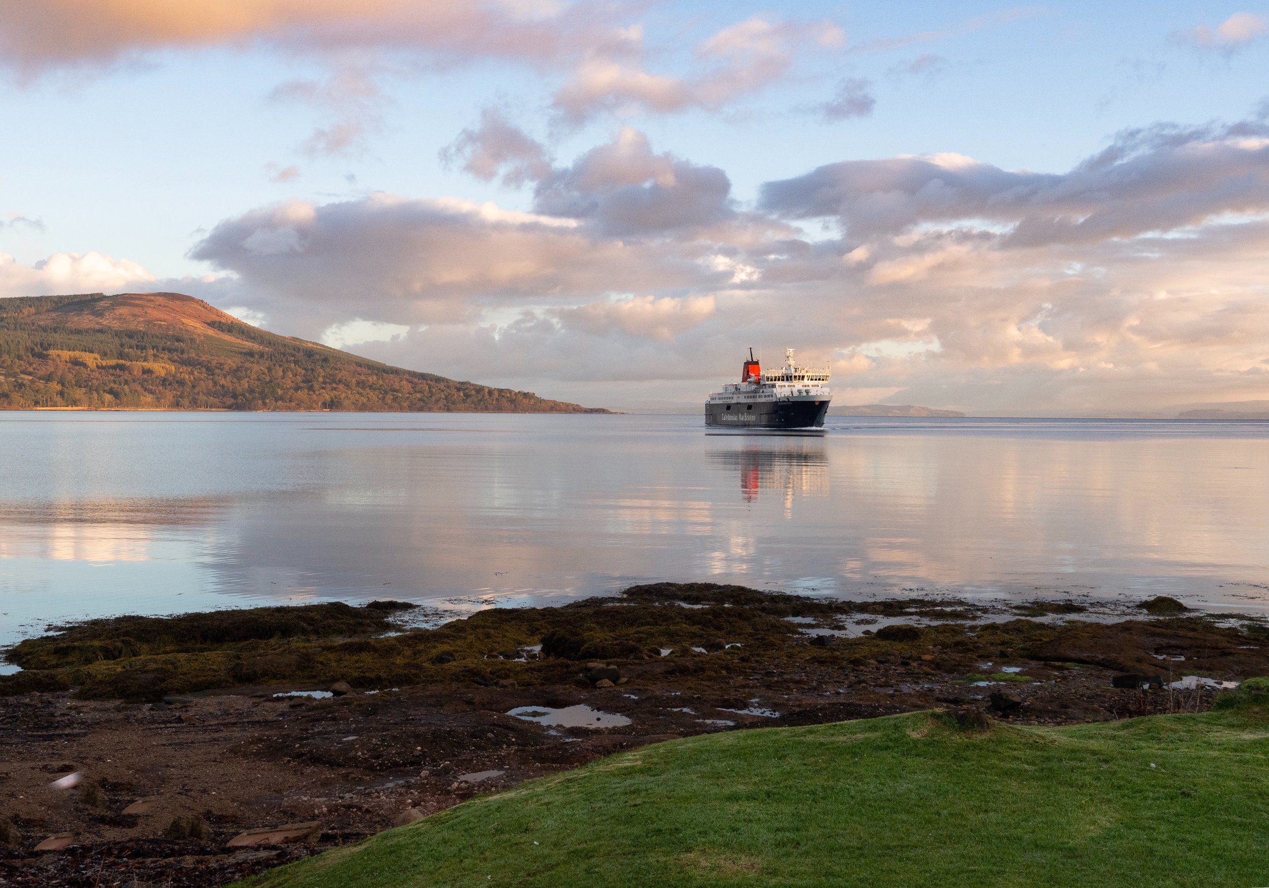 CalMac's morning ferry coming into Brodick on the Isle of Arran, Scotland