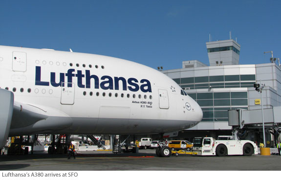 Lufthansa's A380 arrives at SFO | Via FlySFO.com | https://www.flysfo.com/newsletter/sfo-community-newsletter-summer-2011