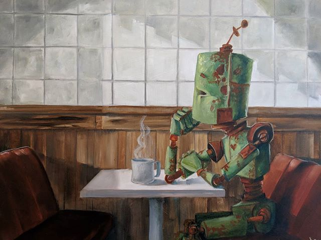 "Meet ""Waiting Bot."" He's been sitting in this same spot since we hung him up two weeks ago.  What do you think he's waiting for?  Decide for yourself.  Come check him out in person!  This piece is still available as part of the #robotsamongus exhibition @29th_street_gallery. . . . DM for details and pricing or visit our website. . . . #robot #robotsamongus  #robots #art #austintexas  #robotsinrowboats  #artgallery #galleryart #gallery  #chicago #chicagogallery #waiting #diner #anticipation  #restaurant #austin"