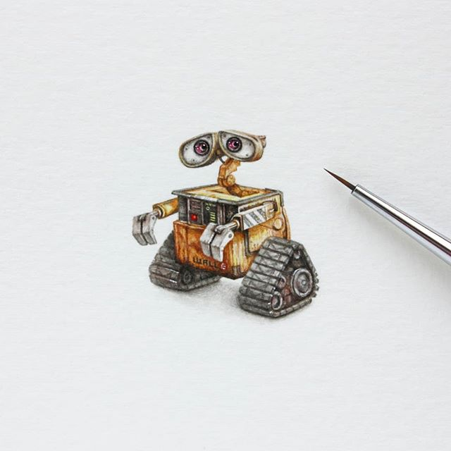 Reposting this miniature watercolor painting by @julialasart.  This little guy is the first in a row of miniature pieces Julia has created for the #robotsamongus exhibition.  He'll be here for two more days! . . . This particular piece is still available, along with limited edition prints and a limited edition poster capturing all nine in this set.  DM for details and pricing. . . . #robots #robot #miniature #miniaturepainting #watercolor #watercolour #gallery #artgallery #galleryart #artshow #artexhibition #originalpainting #painting #paintings  #chicago #chicagogallery #disney #walle #eve  #pixar