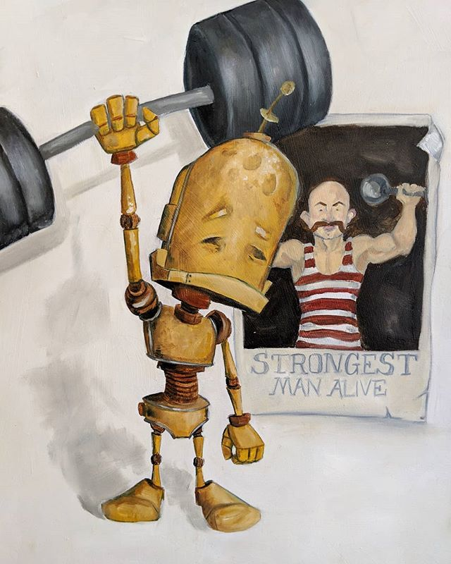 Meet Strong Bot, another incredible oil painting by @therobotsinrowboats.  What more motivation do you need to go to the gym than this?? He's on display for a few more hours here @29th_street_gallery as part of the #robotsamongus exhibition.  Stop by to see him in person! . . . DM for details and pricing . . . #robot #robots #robotart #gallery #galleryart #art #artexhibition  #artshow #painting #paintings #lift #health #strong #workout #gymlife #gym #gymmotivation