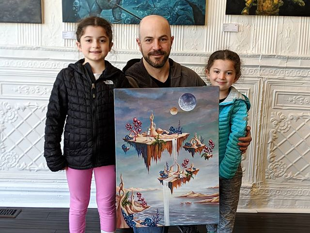 Yesterday the proud new owners of original pieces from the #robotsamongus exhibition stopped by to pick up their newest addtions to their collections.  This family, lives right around the corner from the gallery and were more than excited to finally be taking home this beautiful piece by @jolene.mackie.art, Fleeting Moments.  Although the show is over, the remaining originals are still available (including one more piece by this same artist)! DM for details or visit our website. . . . #robots #robot #art #artwork #gallery #galleryart #exhibition #chicago #chicagogallery #painting #paintings #oiloncanvas  #originalart  #original #openhouse