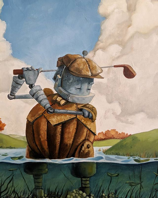 Meet Golf Bot, another creation by @therobotsinrowboats that hung during the #robotsamongus exhibition.  This little guy is a reminder for all of us to take some time for ourselves every now and then. Especially on a beautiful day like we're having here in Chicago!  This piece is still available.  DM for details and pricing. . . . #robot #robots #art #artexhibition  #painting  #paintings  #galleryart  #gallery #chicago #chicagogallery #golf #golfer #golfswing  #pga #masters  #golf #hobby #recreation #robotart