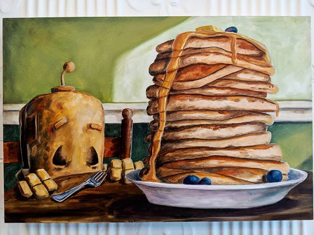 Say good morning to Pancakes Bot!  This little guy is one of the remaining originals by @therobotsinrowboats still available from our #robotsamongus exhibition.  12*18.  Check our website for more details. . . . #robot  #robots #robotsinrowboats  #robotart #pancakes  #breakfast #strong  #healthyfood  #food  #art  #artexhibition  #originalart  #austintexas  #artgallery #gallery #ihop