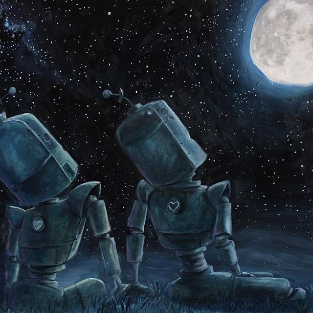 "Check out Moonlight Bots, enjoying a full moon much like the Blue Moon we saw last night.  This piece by @therobotsinrowboats is not like her other works, find out why below.  DM or visit our website for details on this available piece. . • • • • • NOTE FROM THE ARTIST: ""Moonlight Bots""... ok so this one is very different from most of my paintings because my main theme is usually ""alone but far from lonely"". This was actually the design I made for our Save The Dates- But then my fiancé and I decided that we are more courthouse wedding people and wanna skip the big to-do (expensive hassle). I get A LOT of robot couples requests- SO:... here ya go world :) Sharing a little bit of my heart with you.  #robot #robots #love #moon #moonlight #lovers #robotart #robotpainting #robotsinrowboats #illustration #oilpainting #painting #scifi #scifiart #steampunk #stars #starrynight #atxart #austinartist #galleryart #contemporaryart #night"