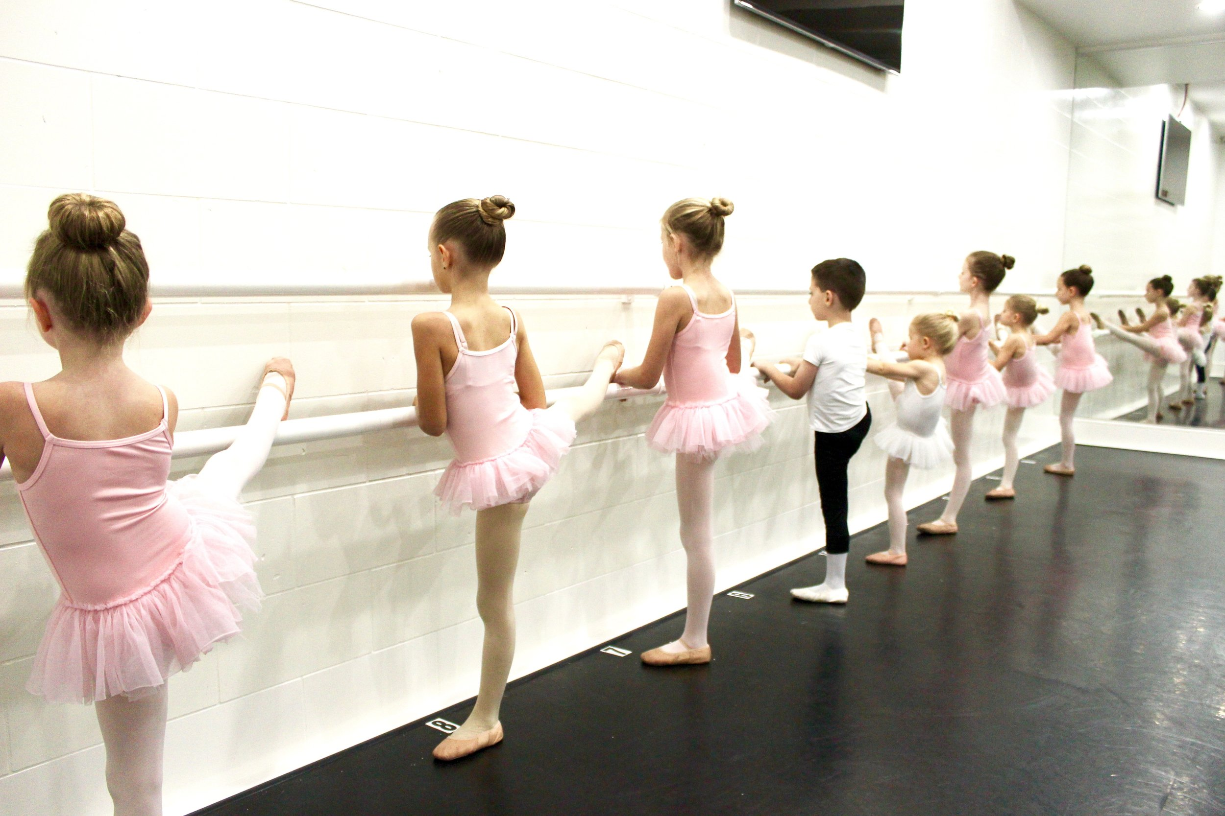 Students continue to gain the love of dance through creative movement. Pre-Division B provides longer ballet training for students with more focus and stamina.