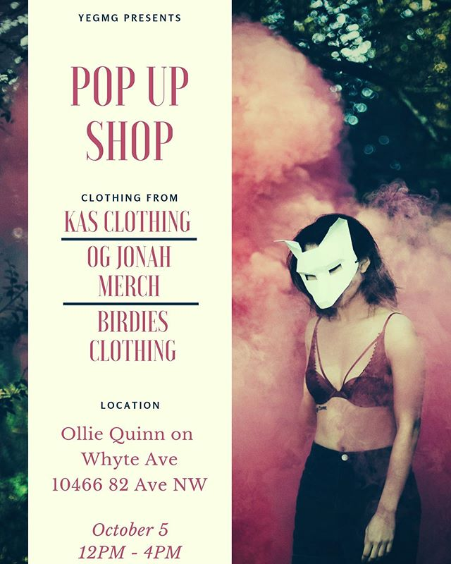 TODAY! Come through and get FREE food and drinks at the pop up shop with @kasclothingco @birdiesclothingco @oqstories 🔥🔥🔥🔥🔥 I want to see as many people as possible! Let's go YEG 🔥🖤🔥