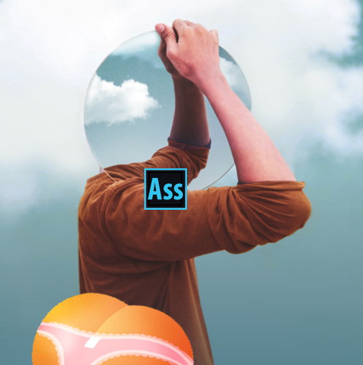 "The cover art for Adobe's new program ""Gluteoshop""."