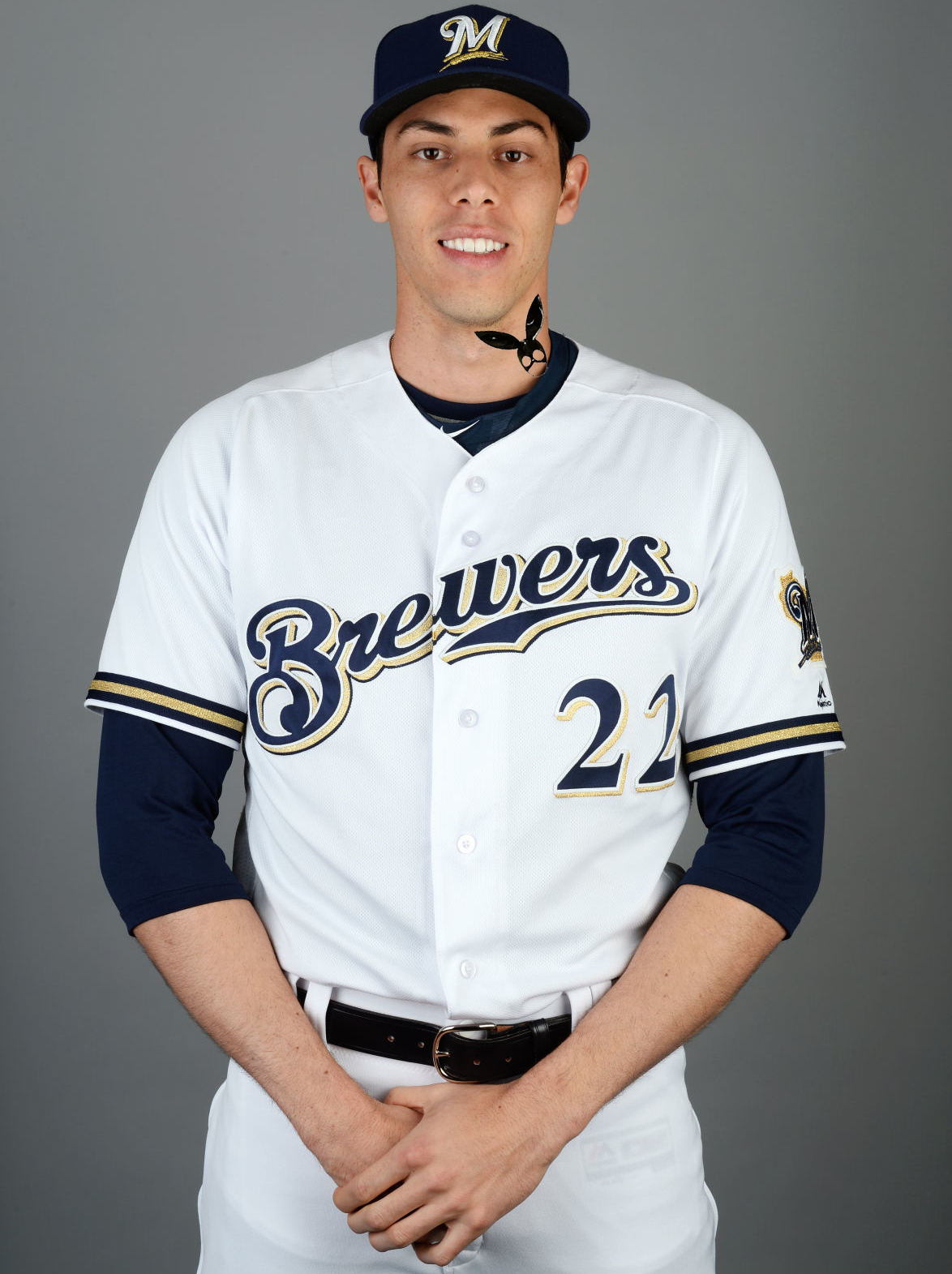 Pete Davidson sporting a fresh Brewers jersey.