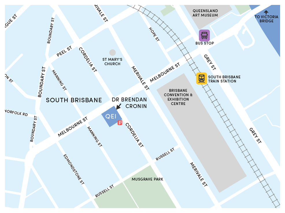 Map of Queensland Eye Institute South Bank Location, Brisbane.