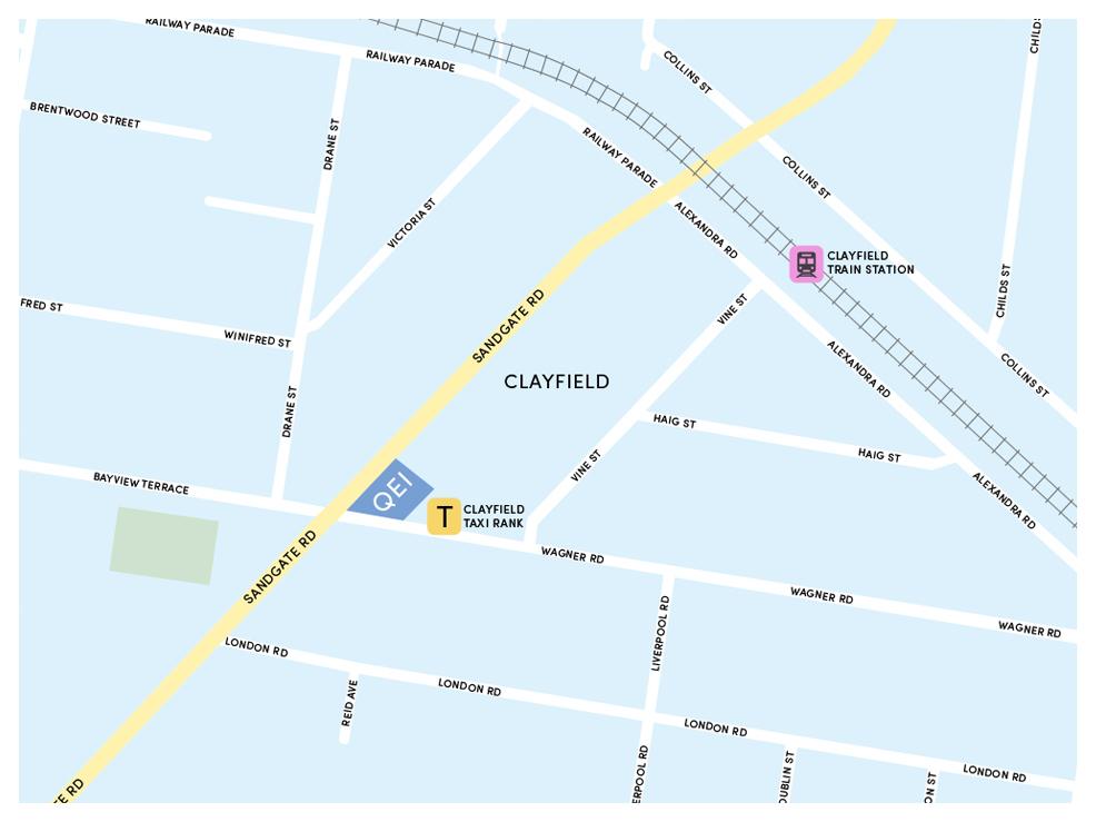 Map of Queensland Eye Institute Clayfield location, Brisbane.