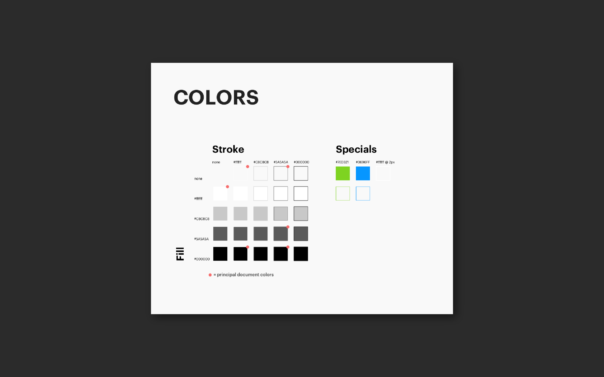 Basic document colors and combinations—these are representations of the colors and styles that will be in the later design symbols.