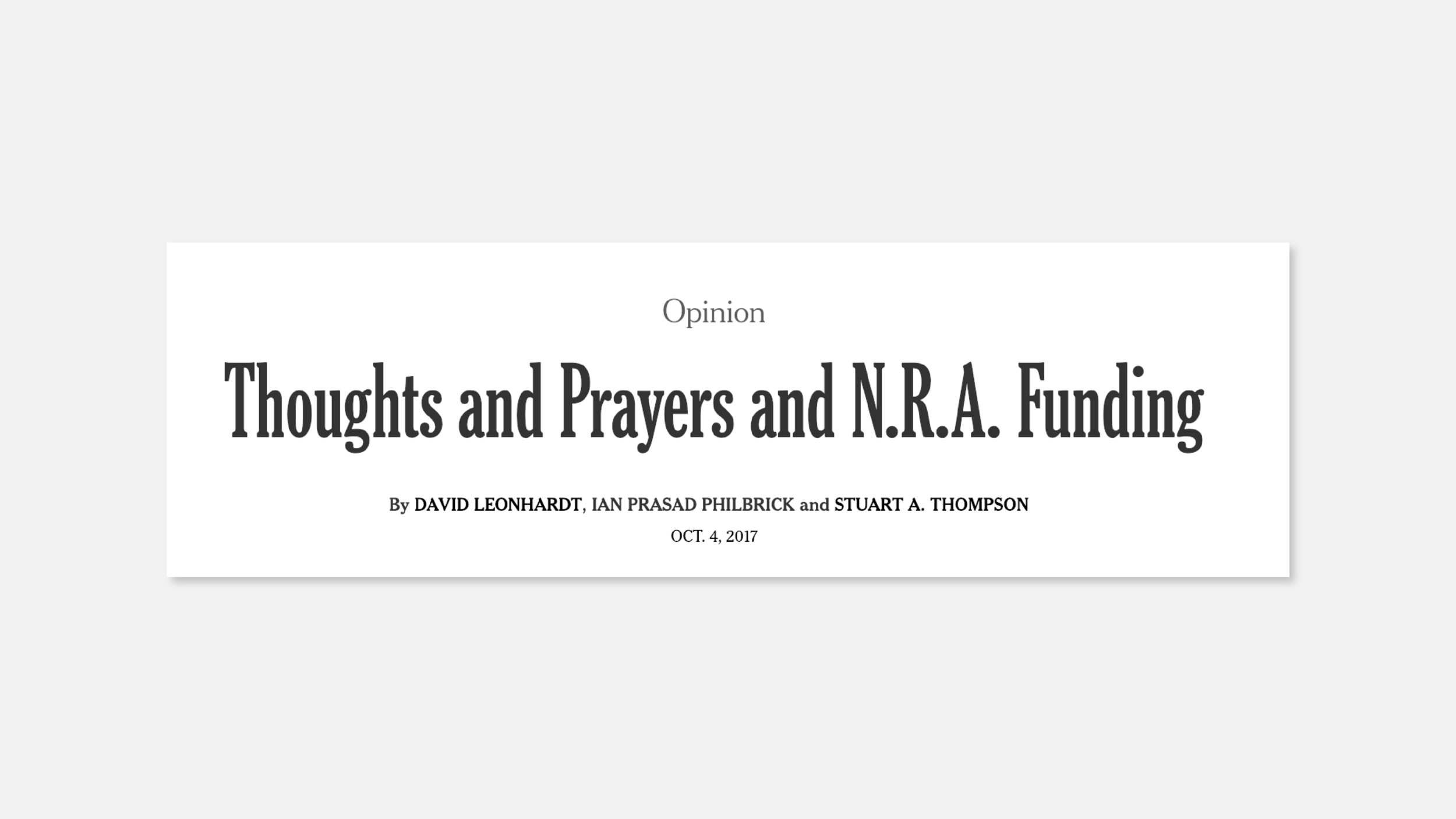 The New York Times article that helped provide my rationale for discussing NRA funding.