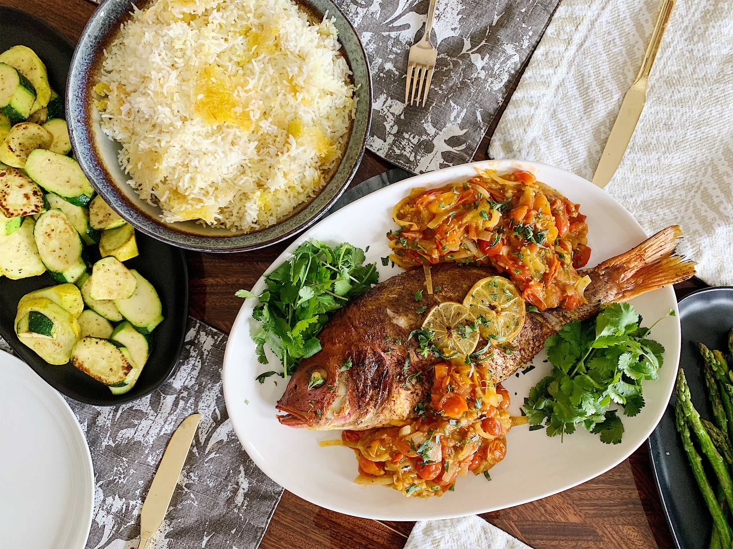 This recipe is great with saffron rice and grilled zucchini