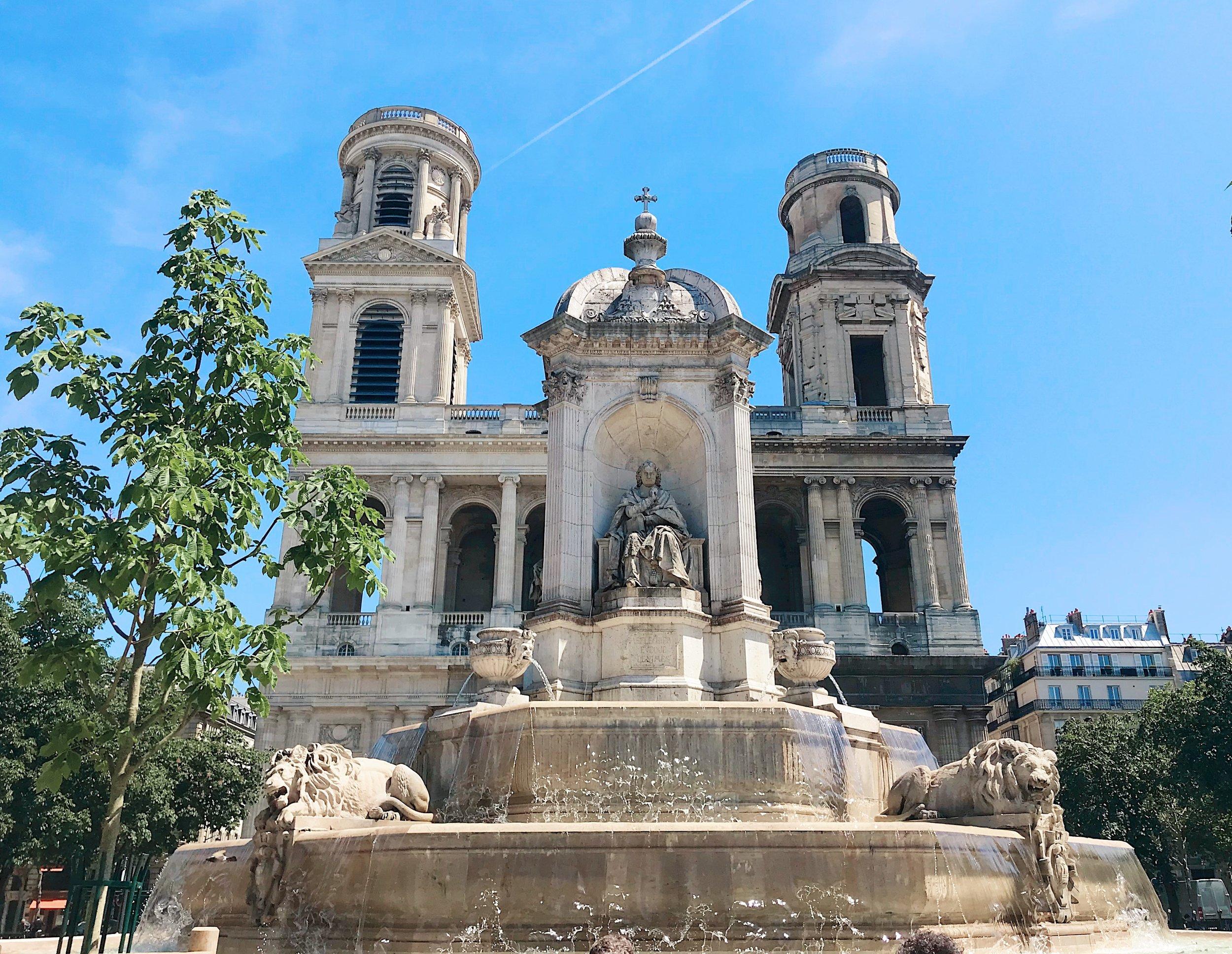 front facade, St. Sulpice, 6th Arrondissement, Paris