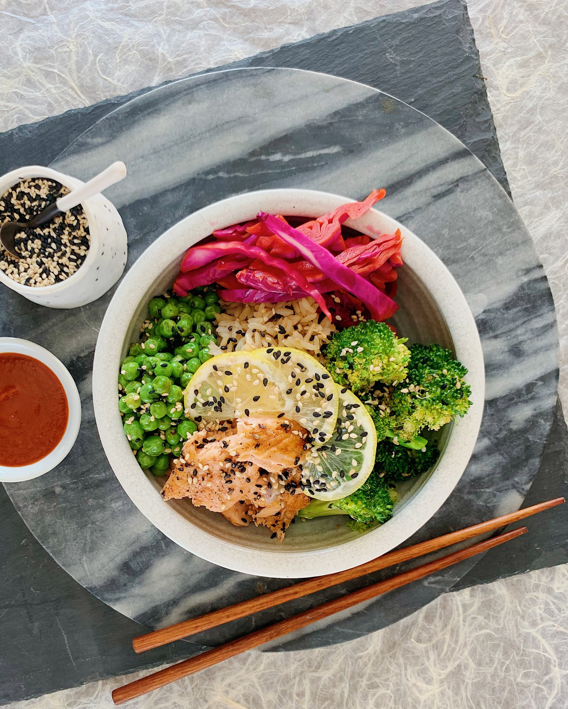 Quickly fix this Seared Salmon Rice Bowl for an easy, healthy lunch idea