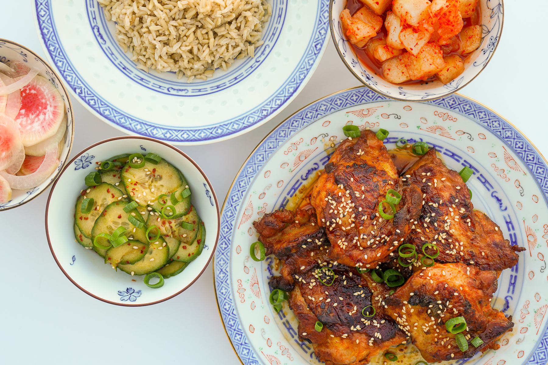 Gochujang Chicken with Banchan