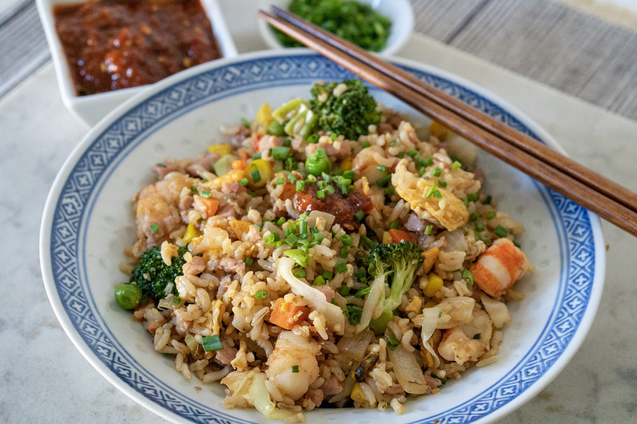 Shrimp Fried Rice with chili sauce