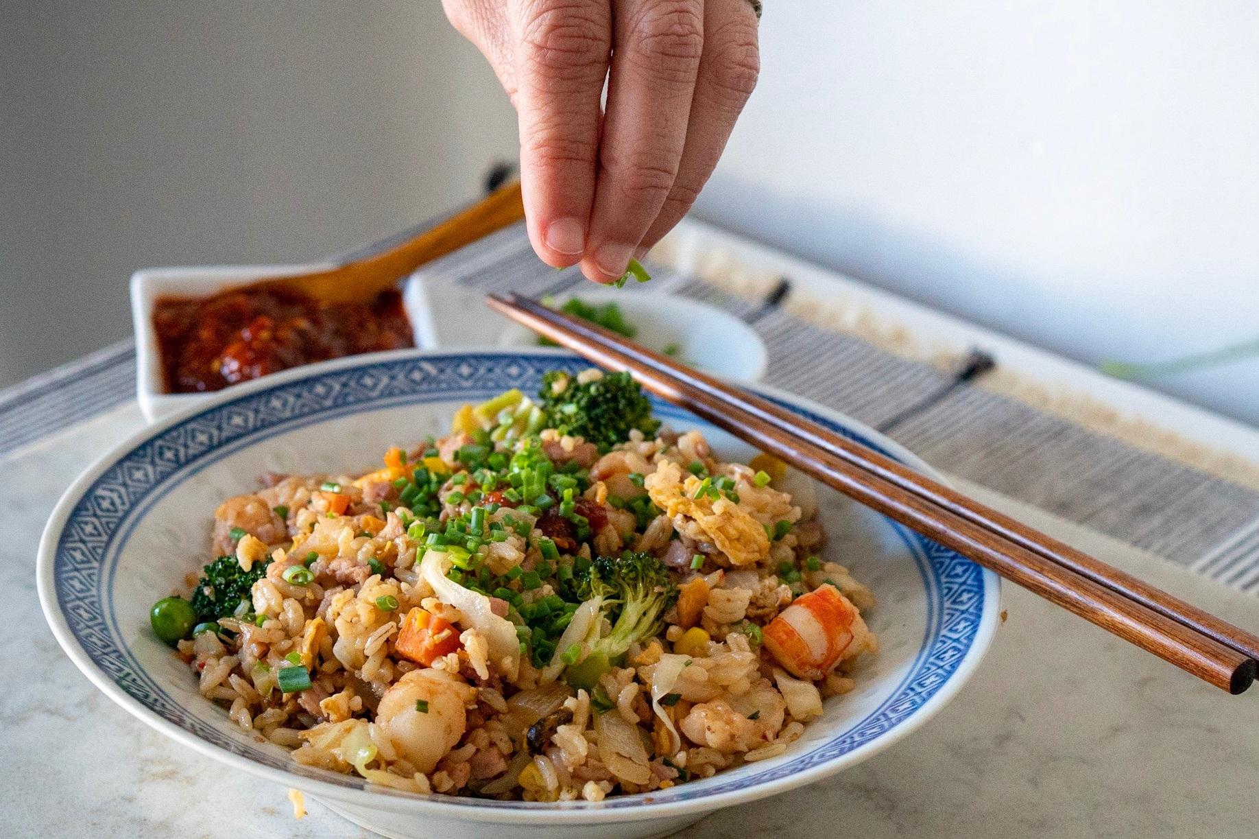 garnish your rice with plenty of scallion greens