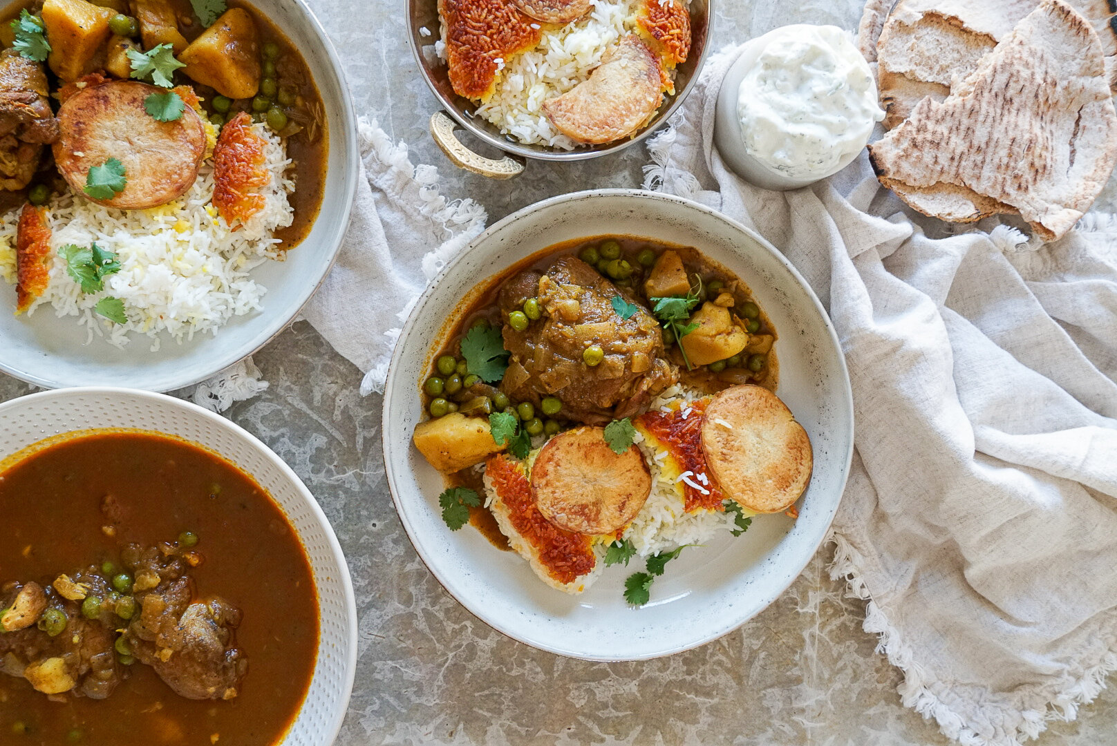 Tahdig with Chicken Curry Stew