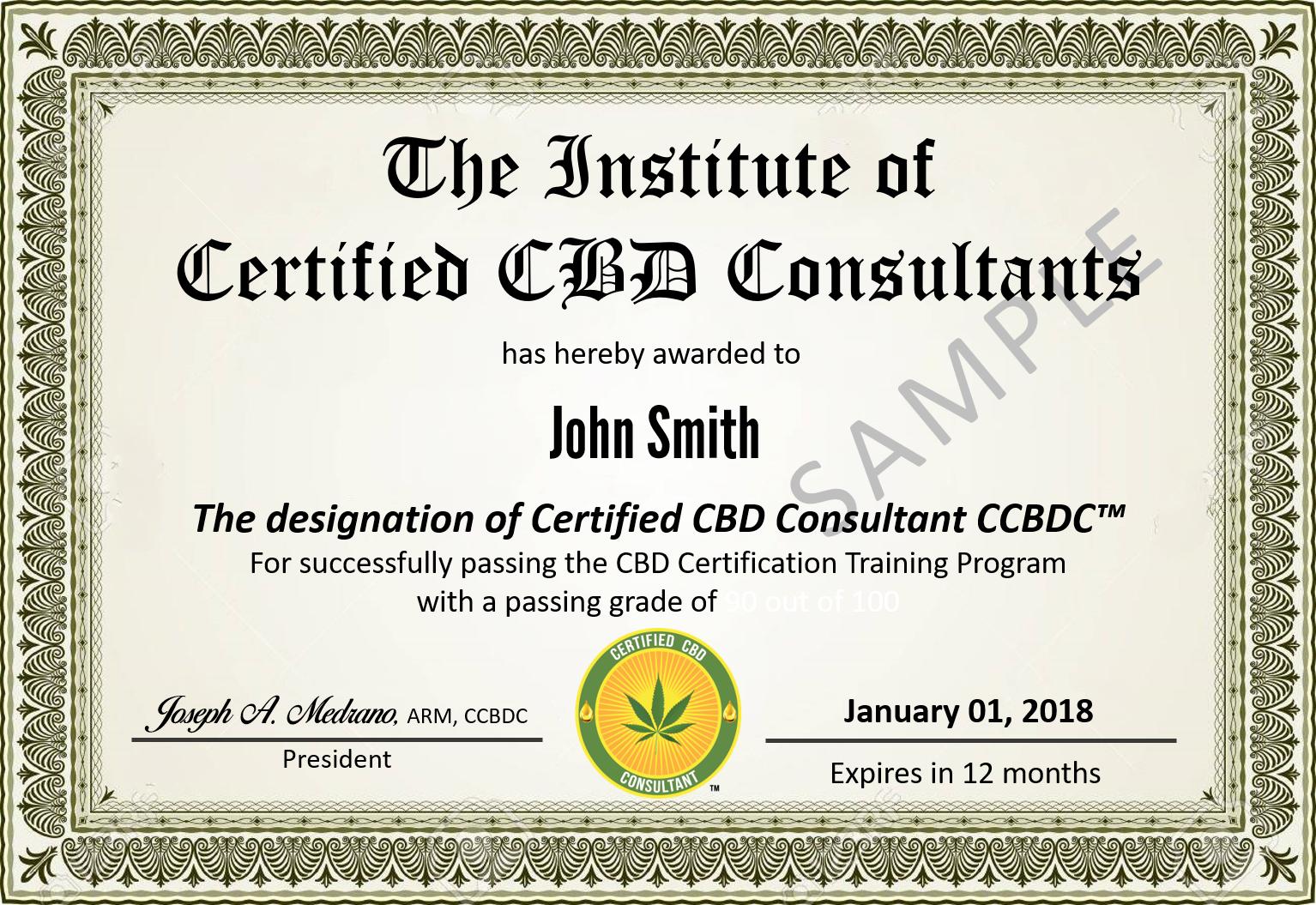 Certified CBD Consultant Certificate