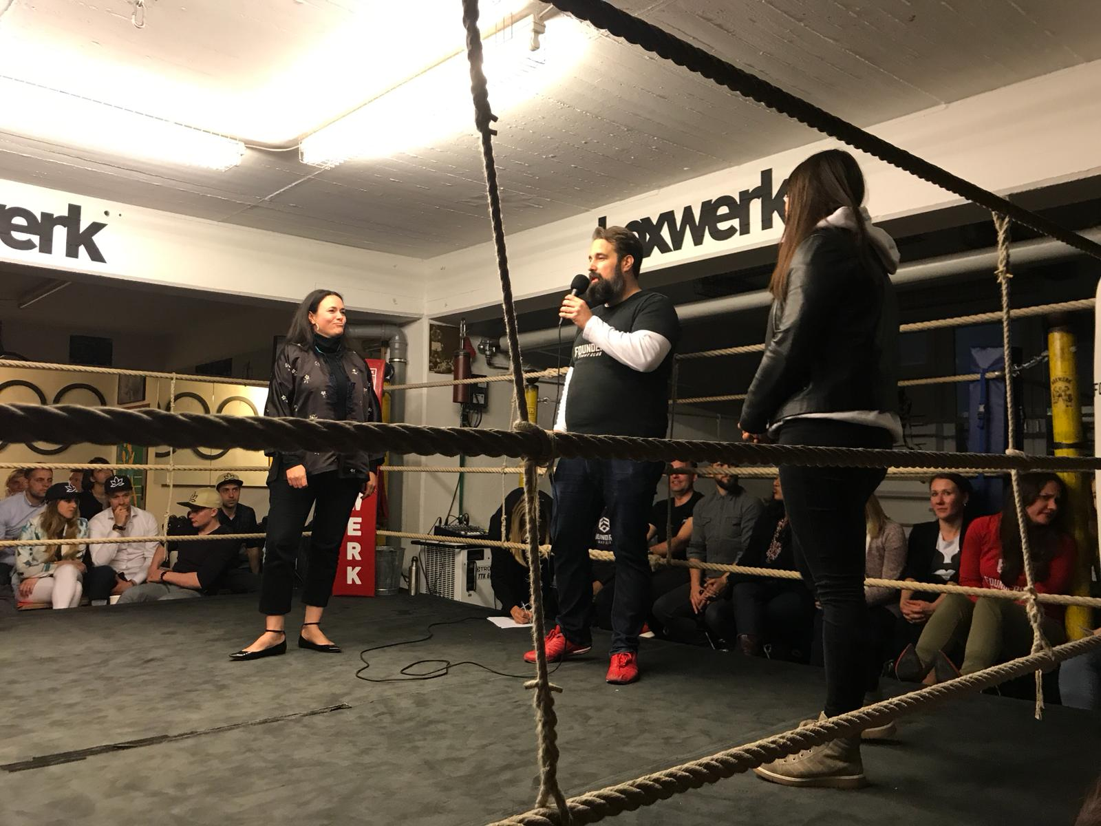 Female founders pitching at Founders Fight Club