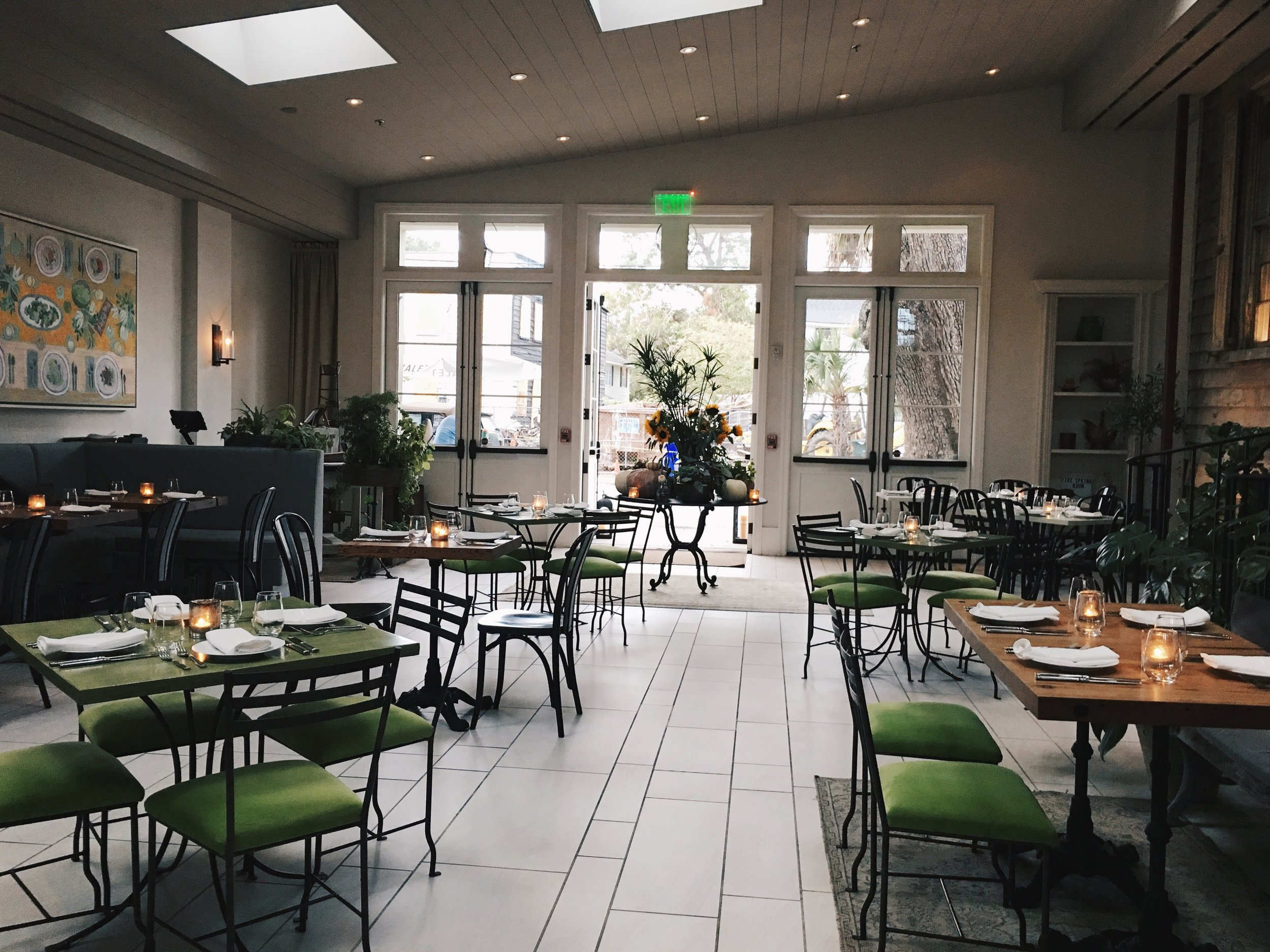 Julia Friedman's photo of the interior of Canon Green Restaurant in Charleston, South Carolina.