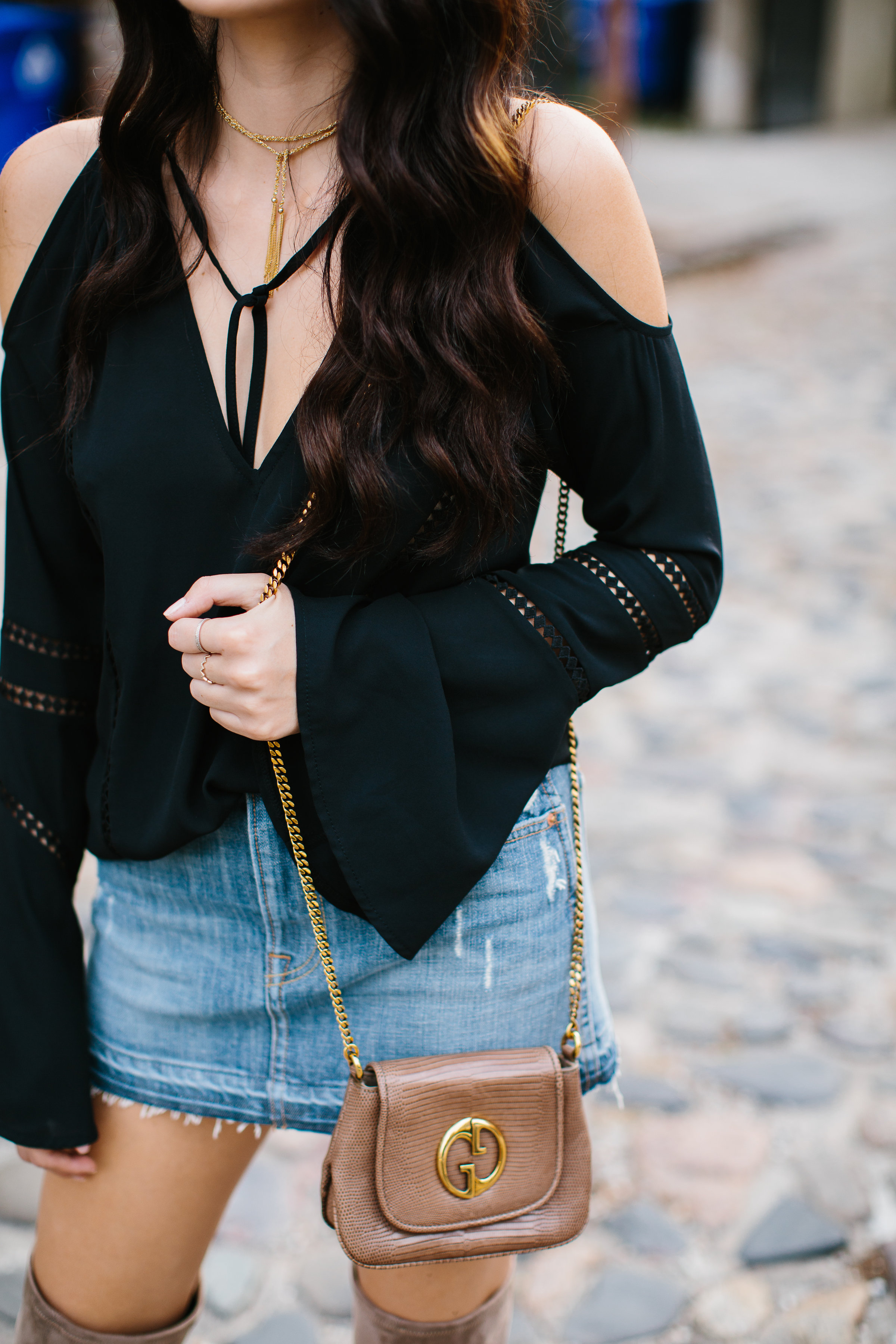 Julia Friedman Black Bell Sleve Top and GrlFrnd Denim Skirt from Revolve Clothing