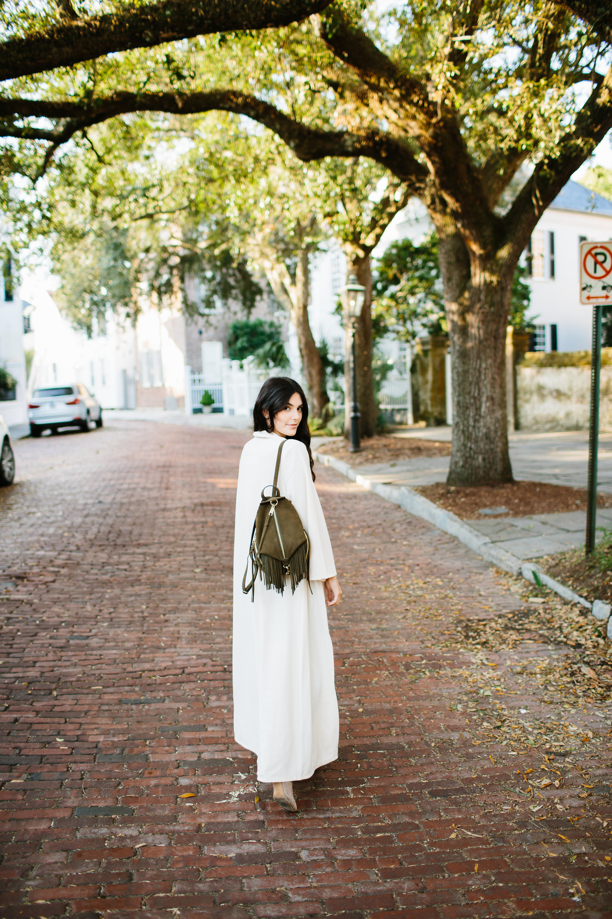 Julia Friedman Nude Duster Coat from Naked Wardrobe and Rebecca Minkoff Backpack