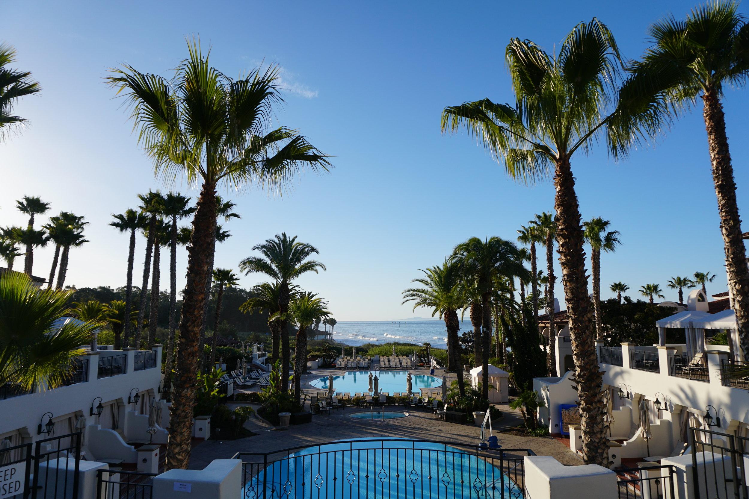 The main pool with an ocean view at the Bacara Resort & Spa in Santa Barbara.