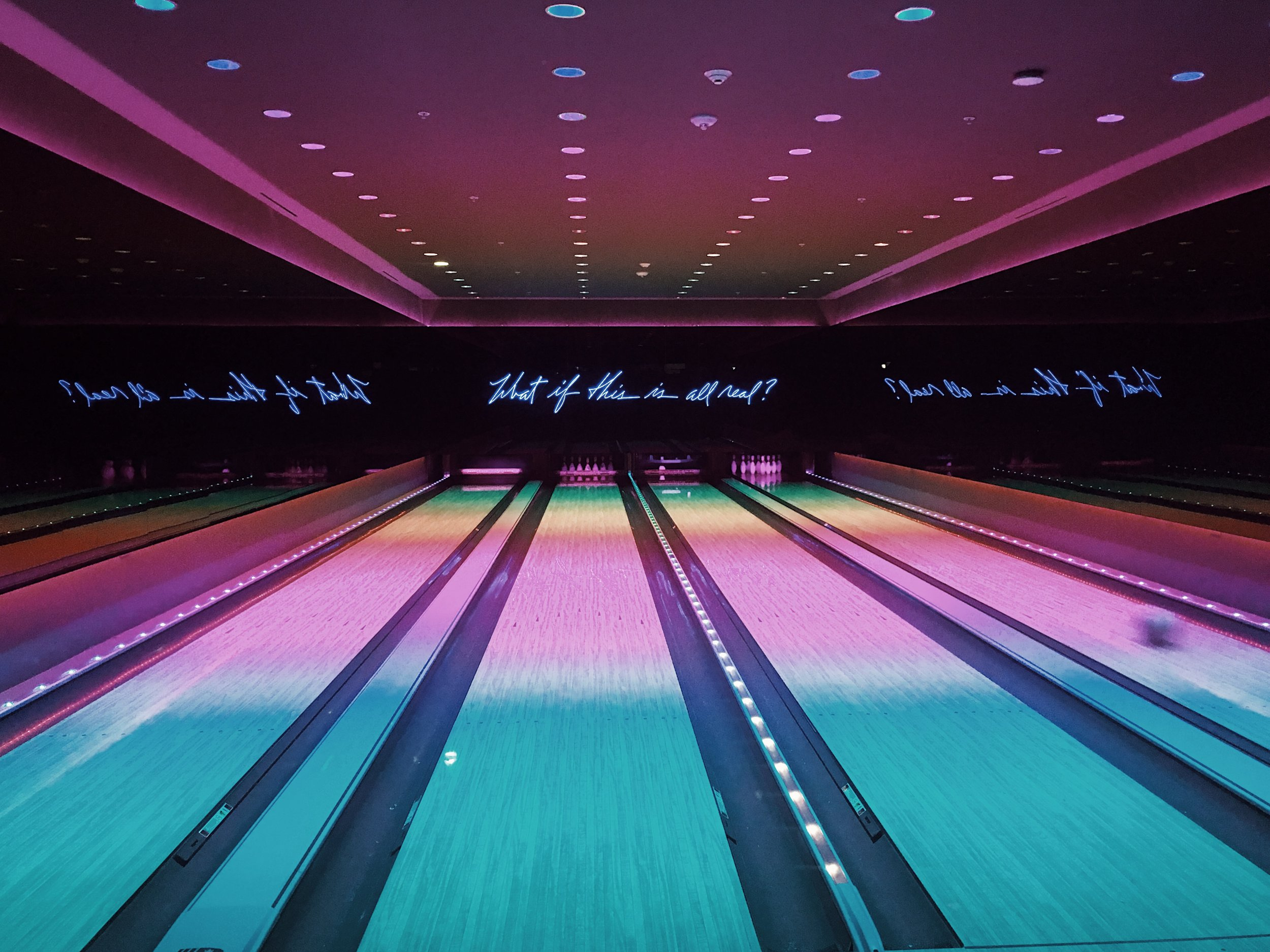 Bowling alley in the Basement of the Miami Beach Edition Hotel.