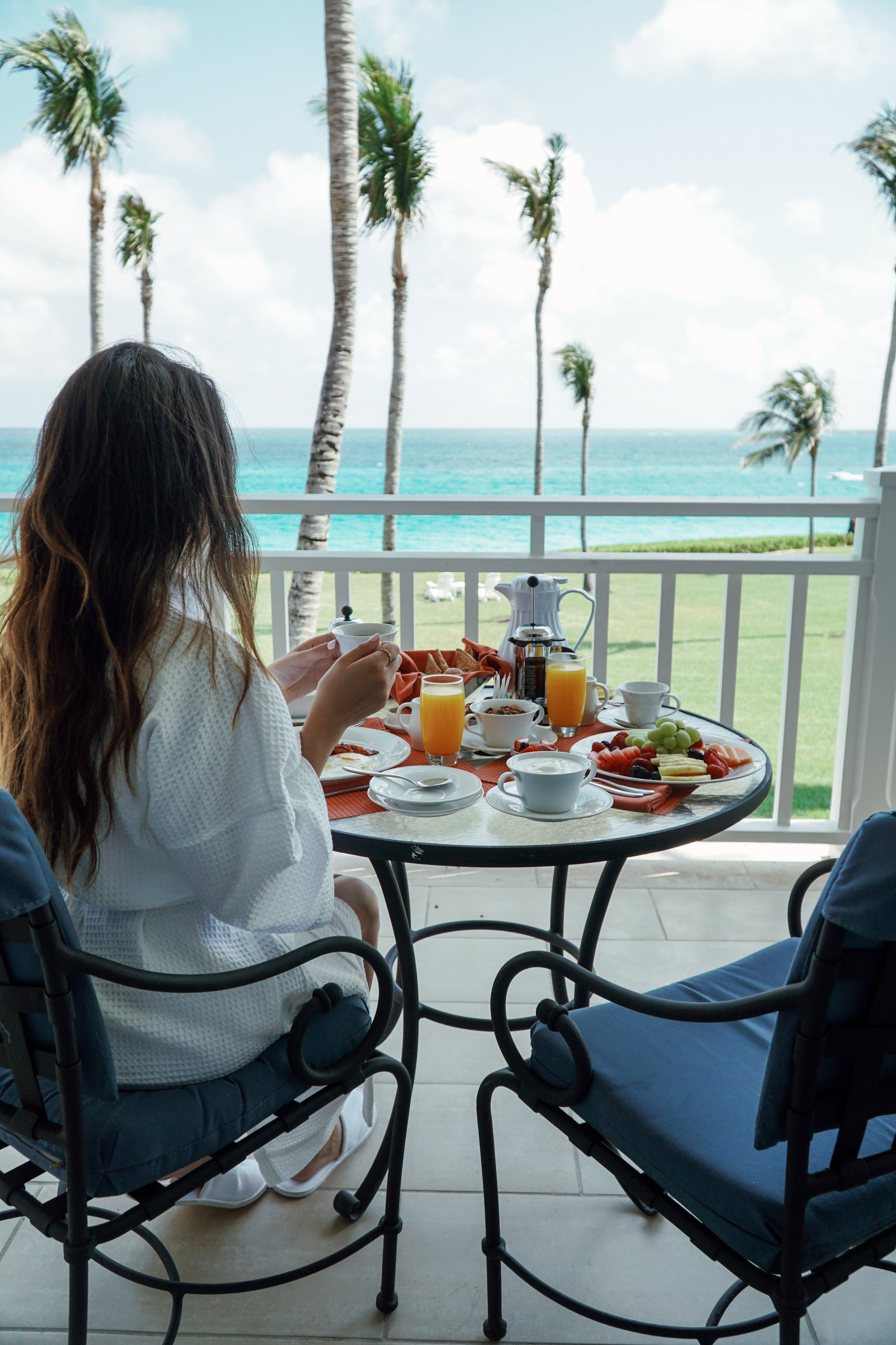 Julia Friedman enjoys breakfast with a view at the One&Only Ocean Club in the Bahamas.