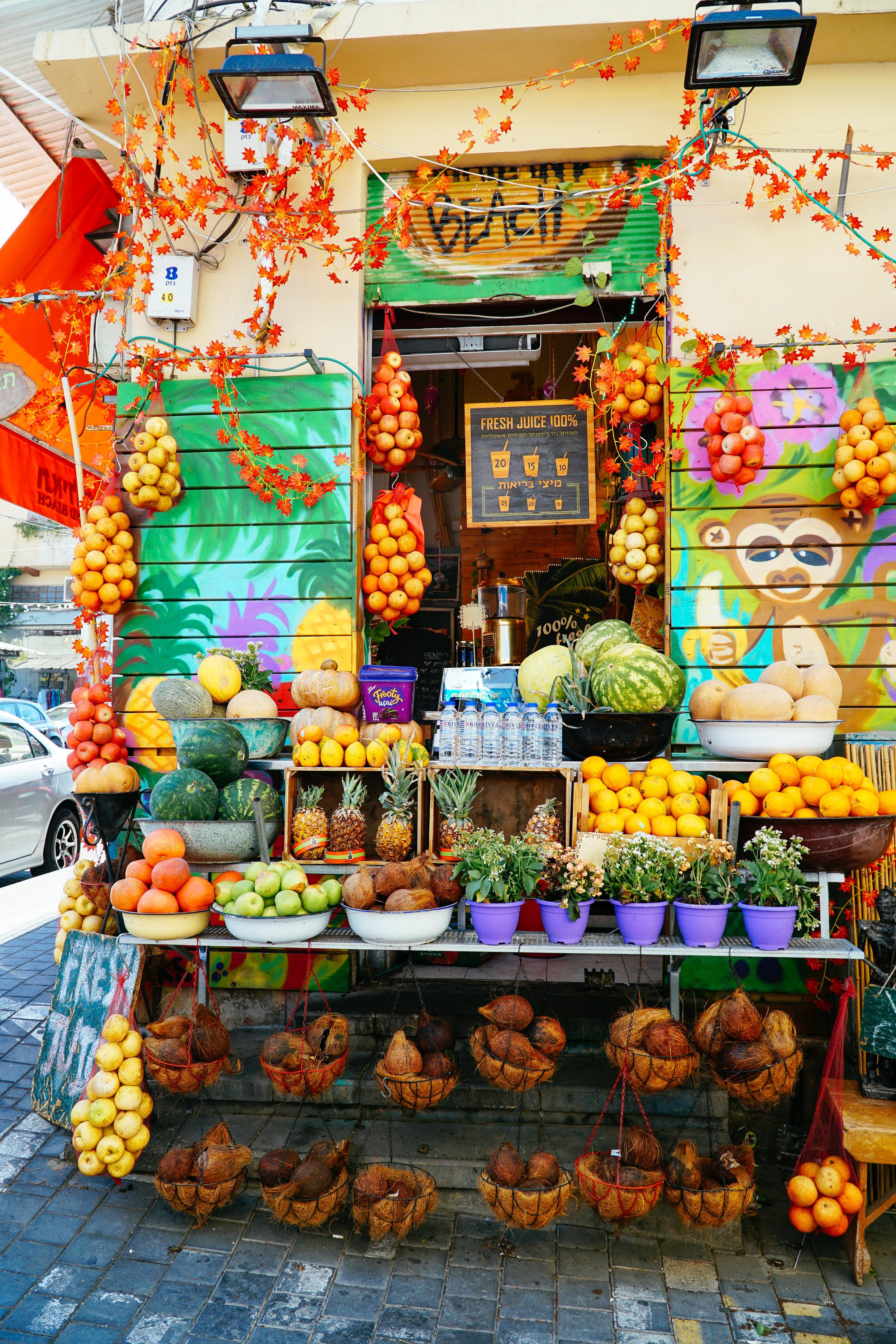 Fruit stand in Tel Aviv Yafo area by Julia Friedman.