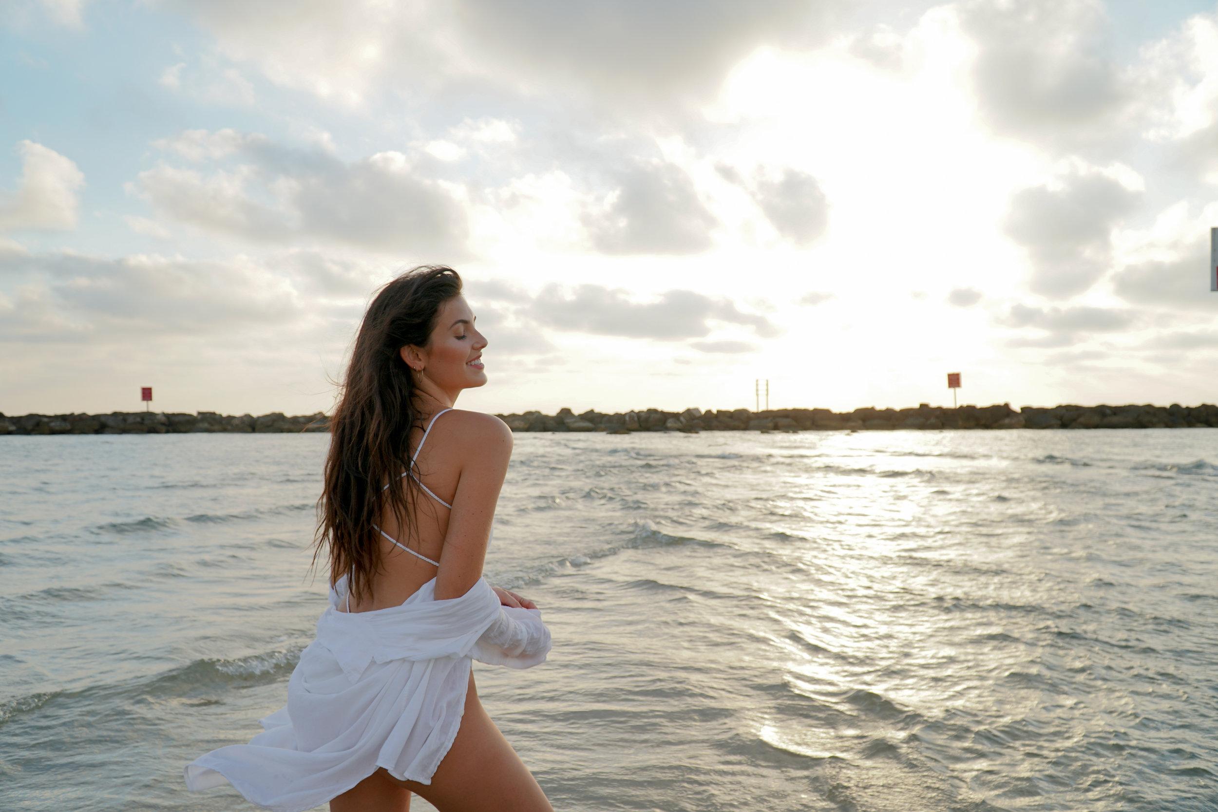 Julia Friedman wearing Vitamin A Swimwear in Tel Aviv Israel.