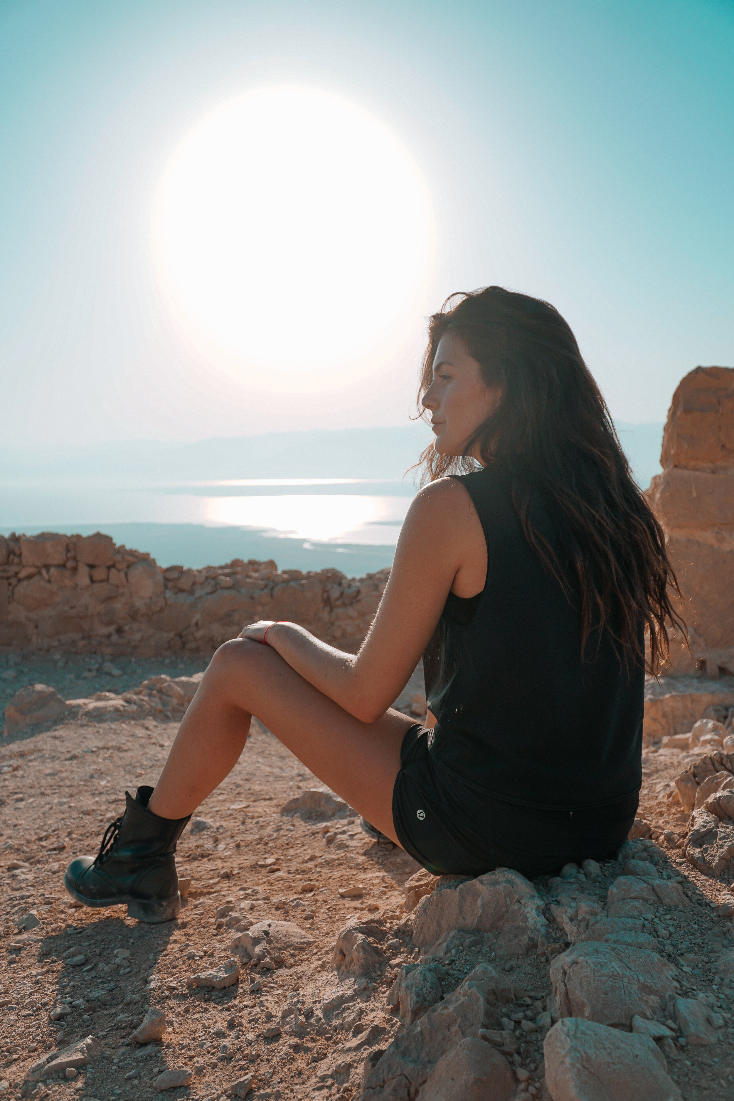 Julia Friedman hikes to the top of Masada to watch the sunrise during her second week in Israel.