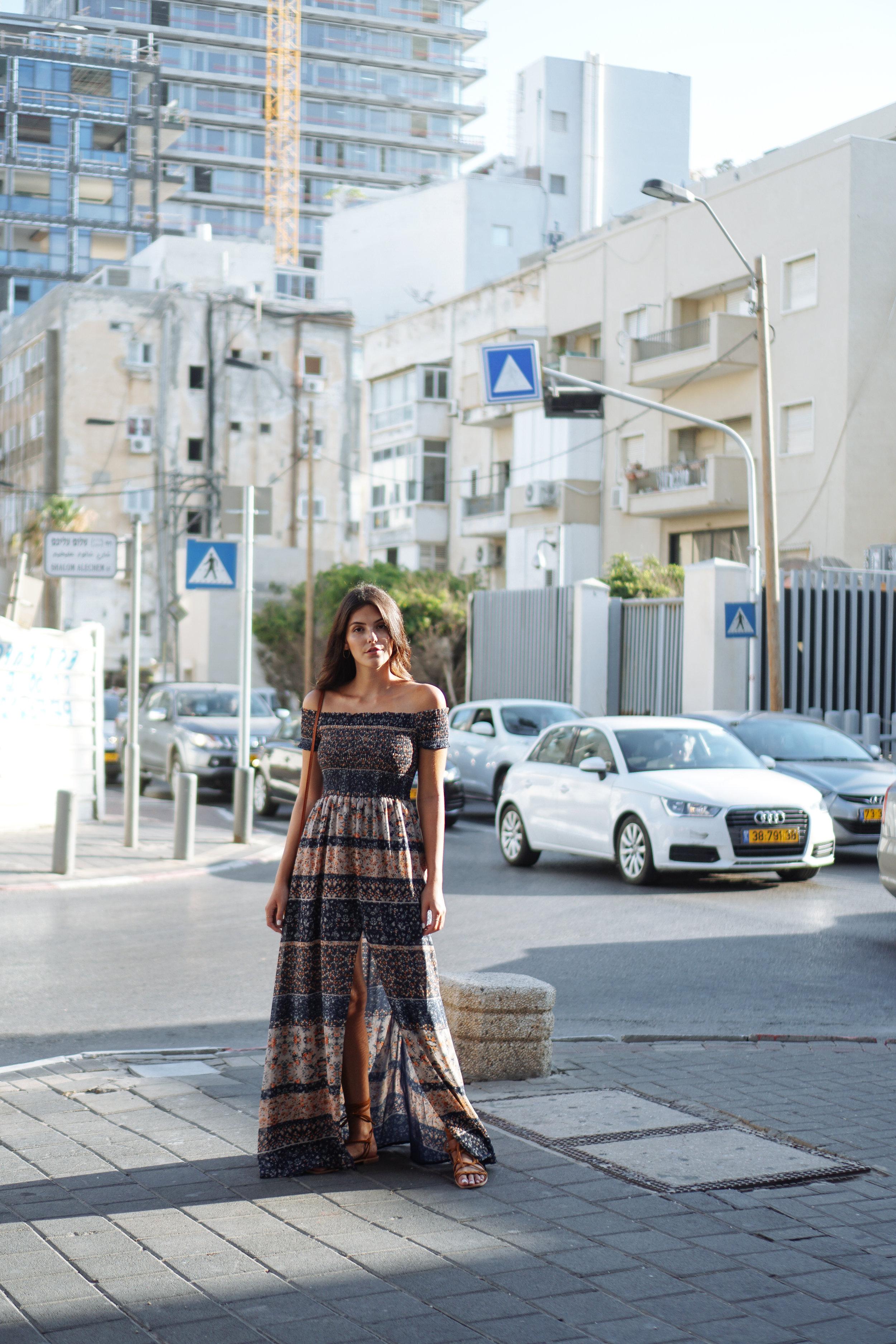 Julia Friedman wearing a Tularosa maxi dress in Tel Aviv Israel | Israel Diary Week #3