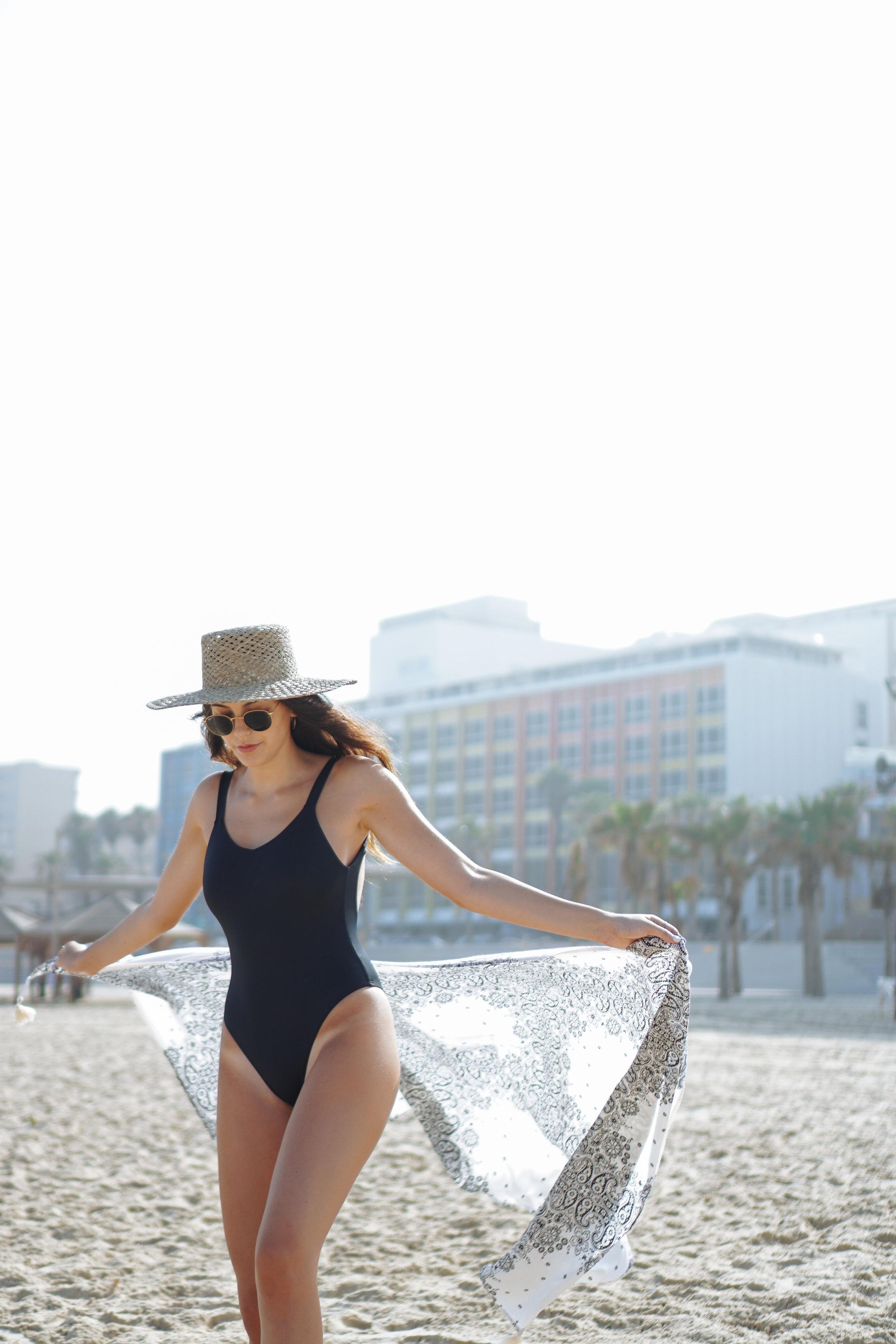 Julia Friedman black one piece swimsuit Israel Diary week #3