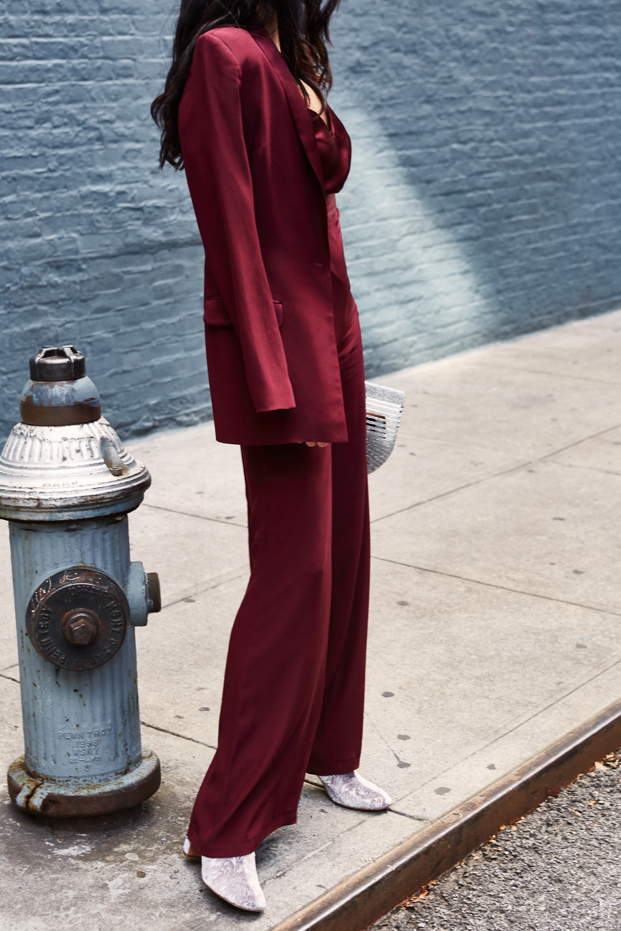 NYFW Recap #1 Julia Friedman, burgundy pant suit.