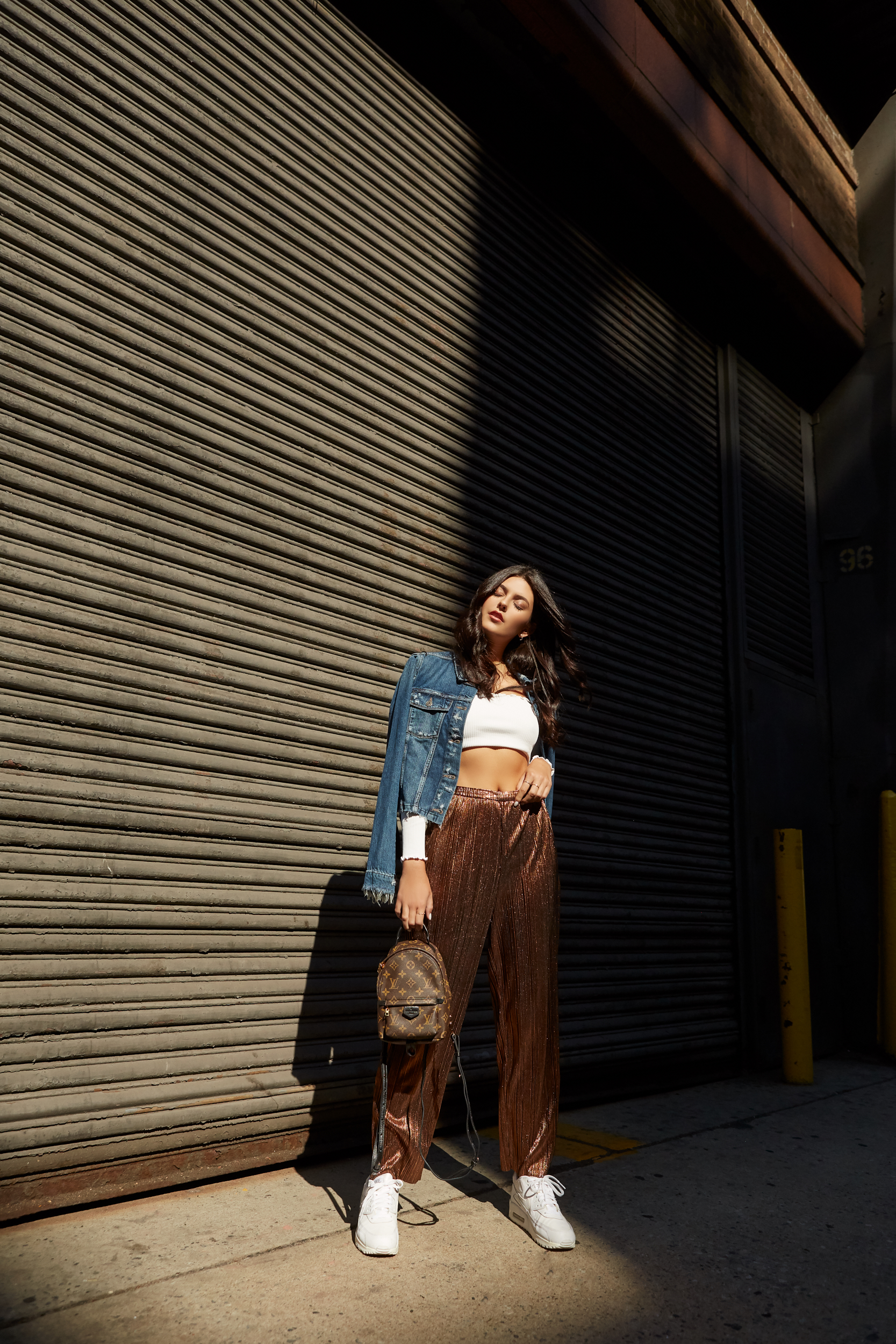 NYFW Recap #1 Julia Friedman, metallic pants, crop top, denim jacket, sneakers, nyfw street style