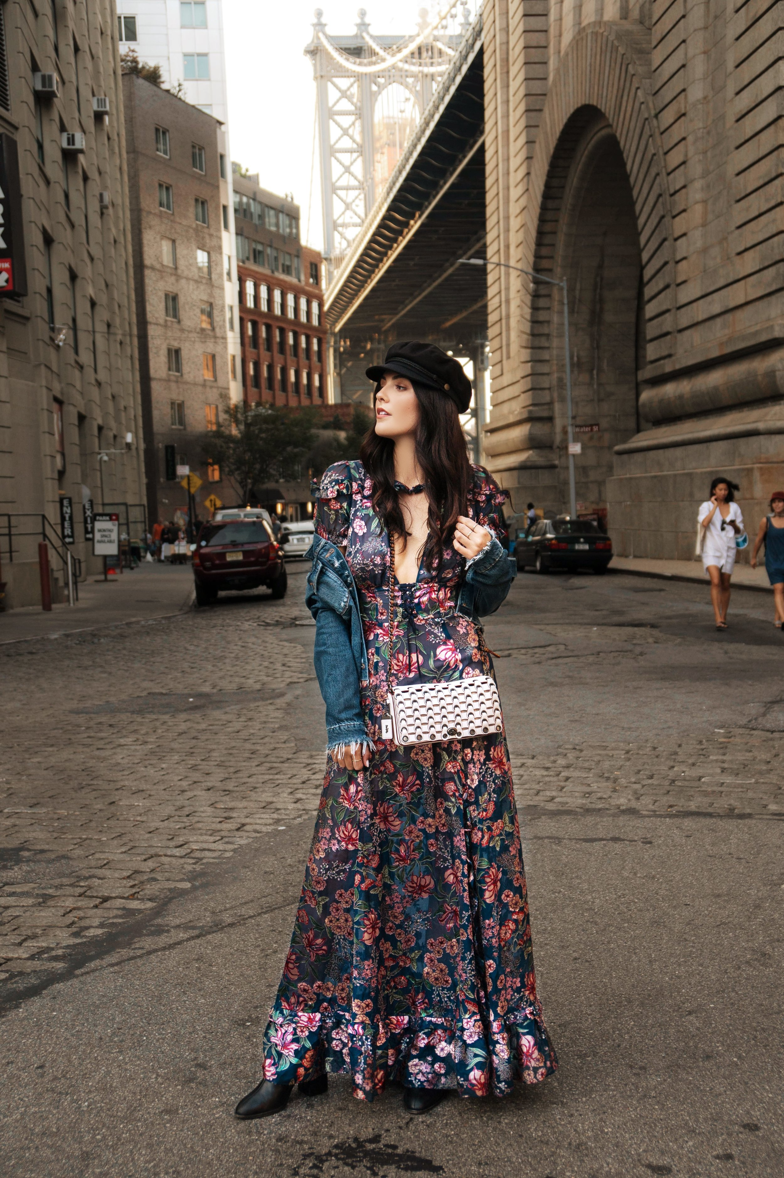 5 Places to Take a First Timer in New York | Dumbo. Brooklyn | For Love & Lemons Flora Dress, Paige Jacket, Dear Frances Boots, Coach Dinky Bag.